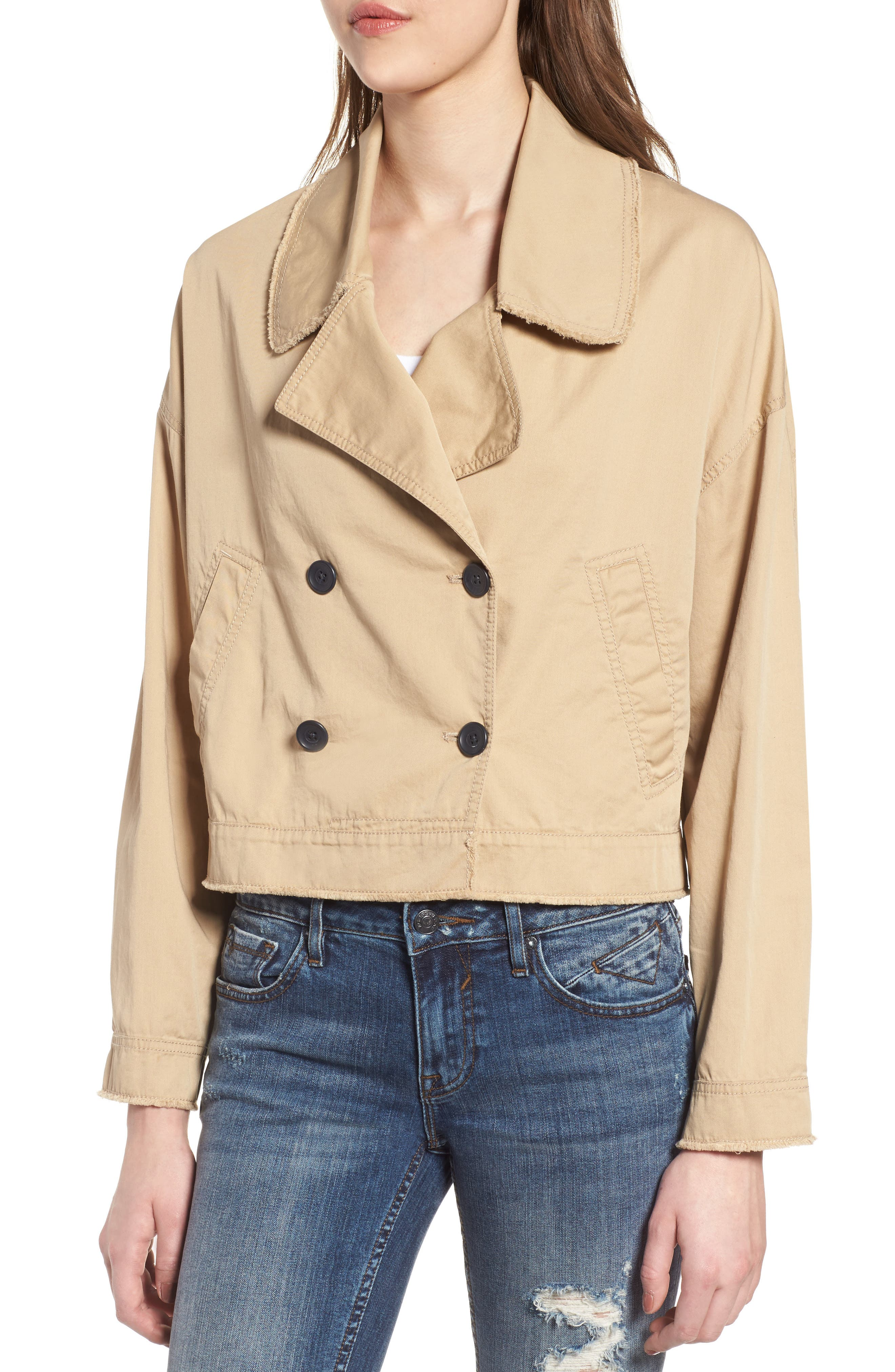 Crop Trench Coat,                             Alternate thumbnail 4, color,                             260