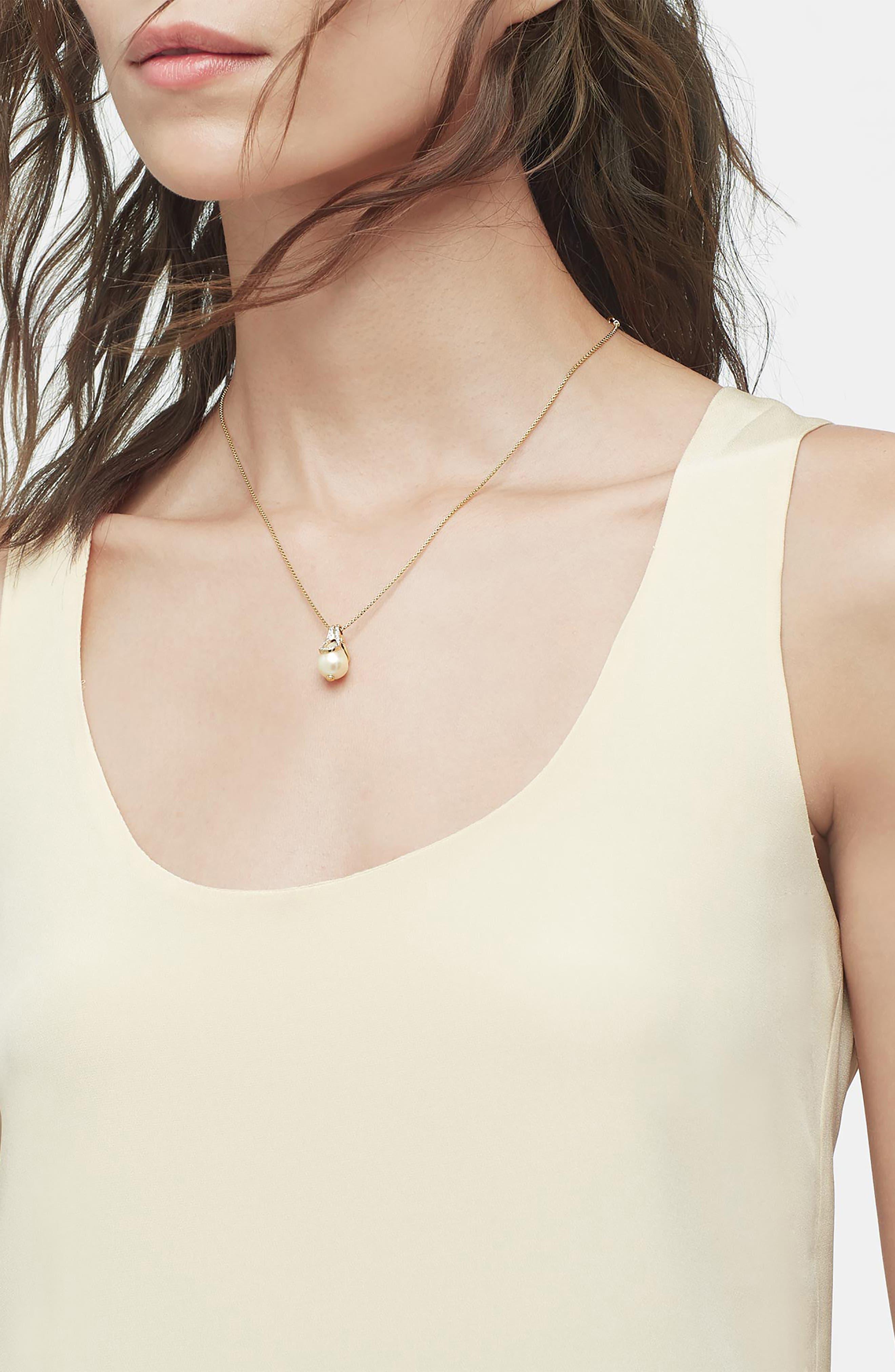 Bamboo Baroque Pearl & Diamond Pavé Pendant Necklace,                             Alternate thumbnail 2, color,                             710