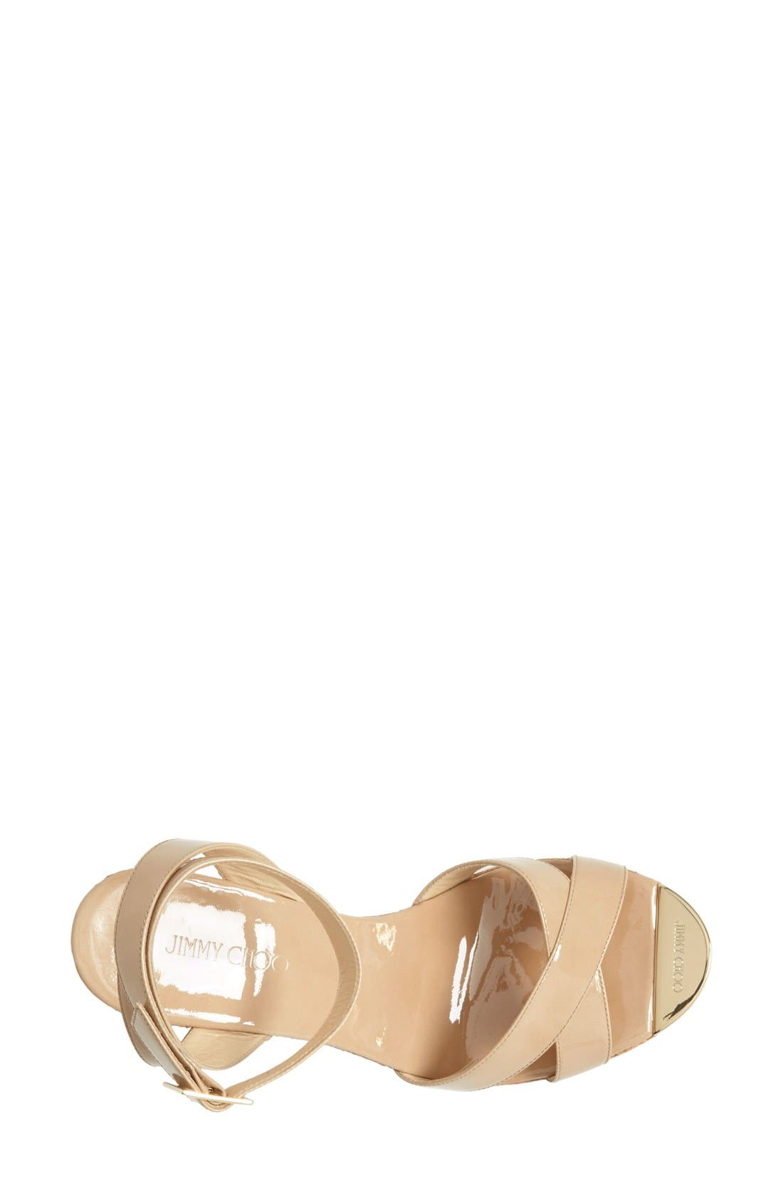 JIMMY CHOO,                             'Papyrus' Cork Wedge Sandal,                             Alternate thumbnail 3, color,                             250