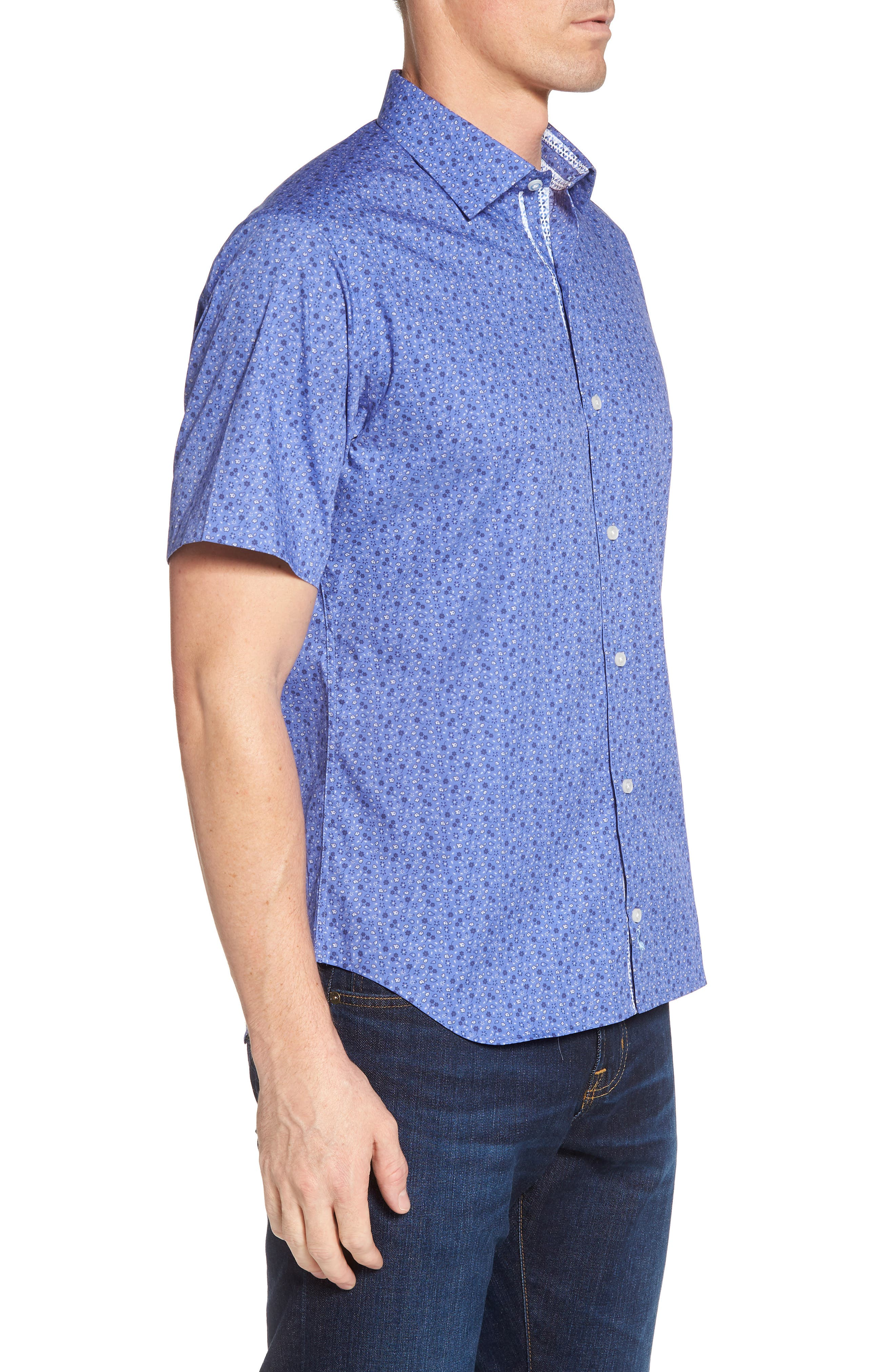Ballou Regular Fit Floral Print Sport Shirt,                             Alternate thumbnail 3, color,                             430