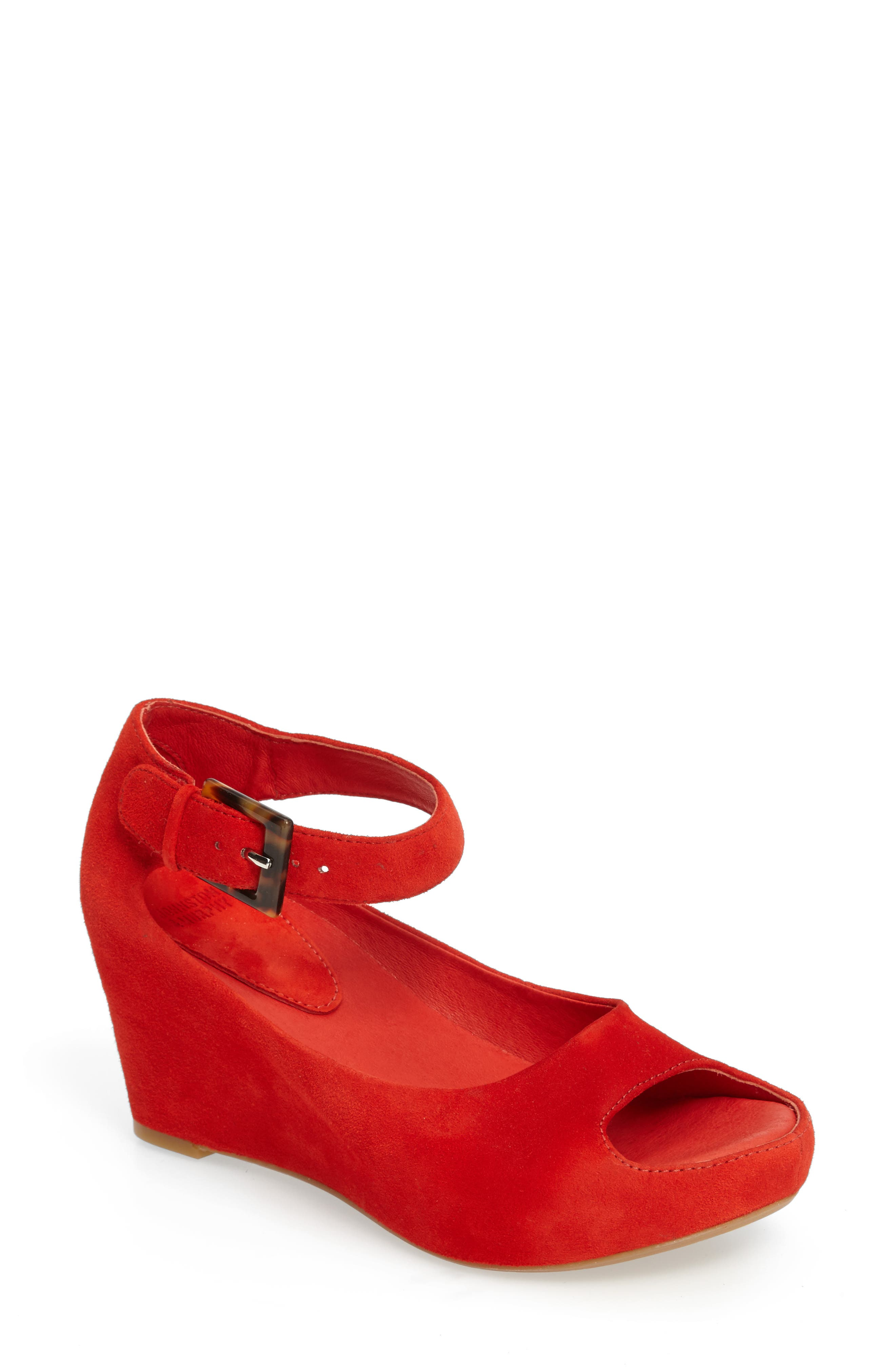 'Tricia' Ankle Strap Sandal,                             Main thumbnail 1, color,                             FLAMINGO RED SUEDE
