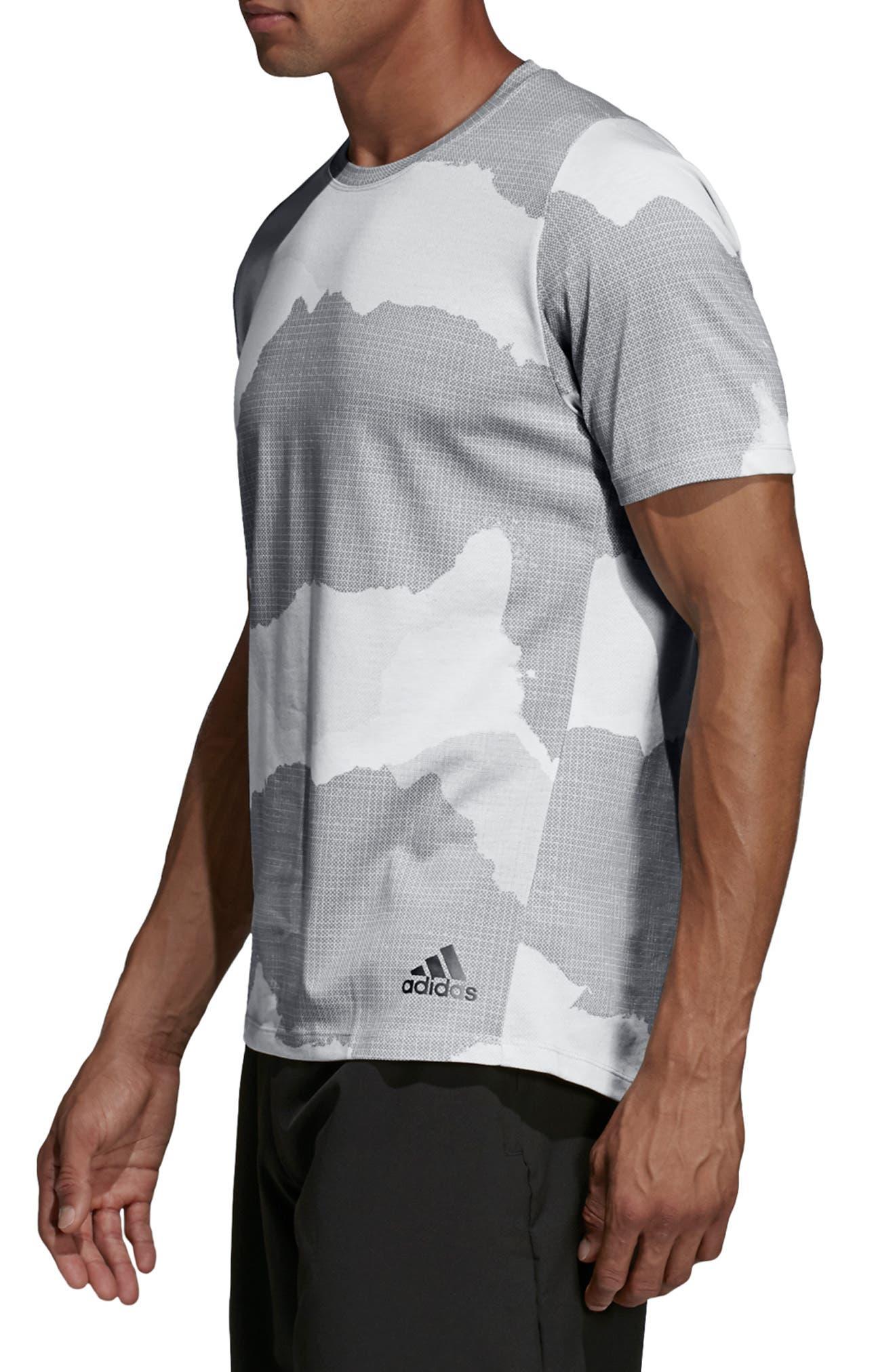ADIDAS,                             Tech Camo T-Shirt,                             Alternate thumbnail 3, color,                             RAW WHITE/ GREY