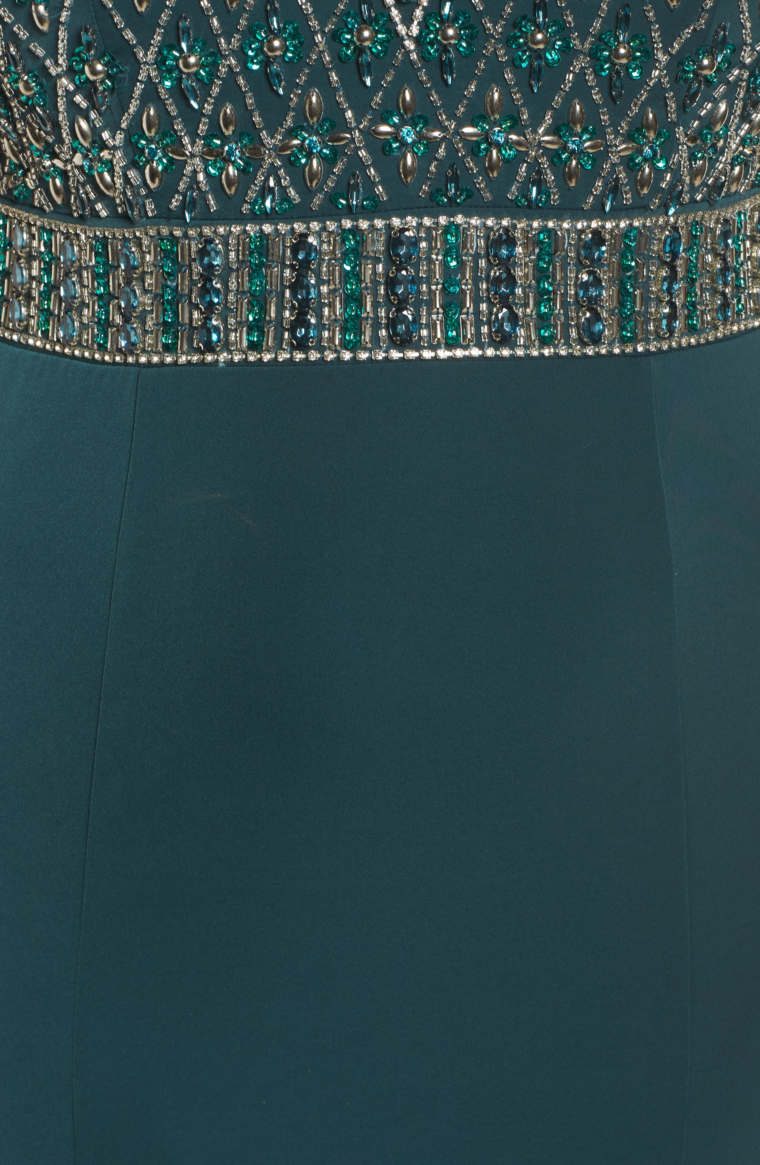 Crystal Embellished Ballgown,                             Alternate thumbnail 5, color,                             DEEP EMERALD