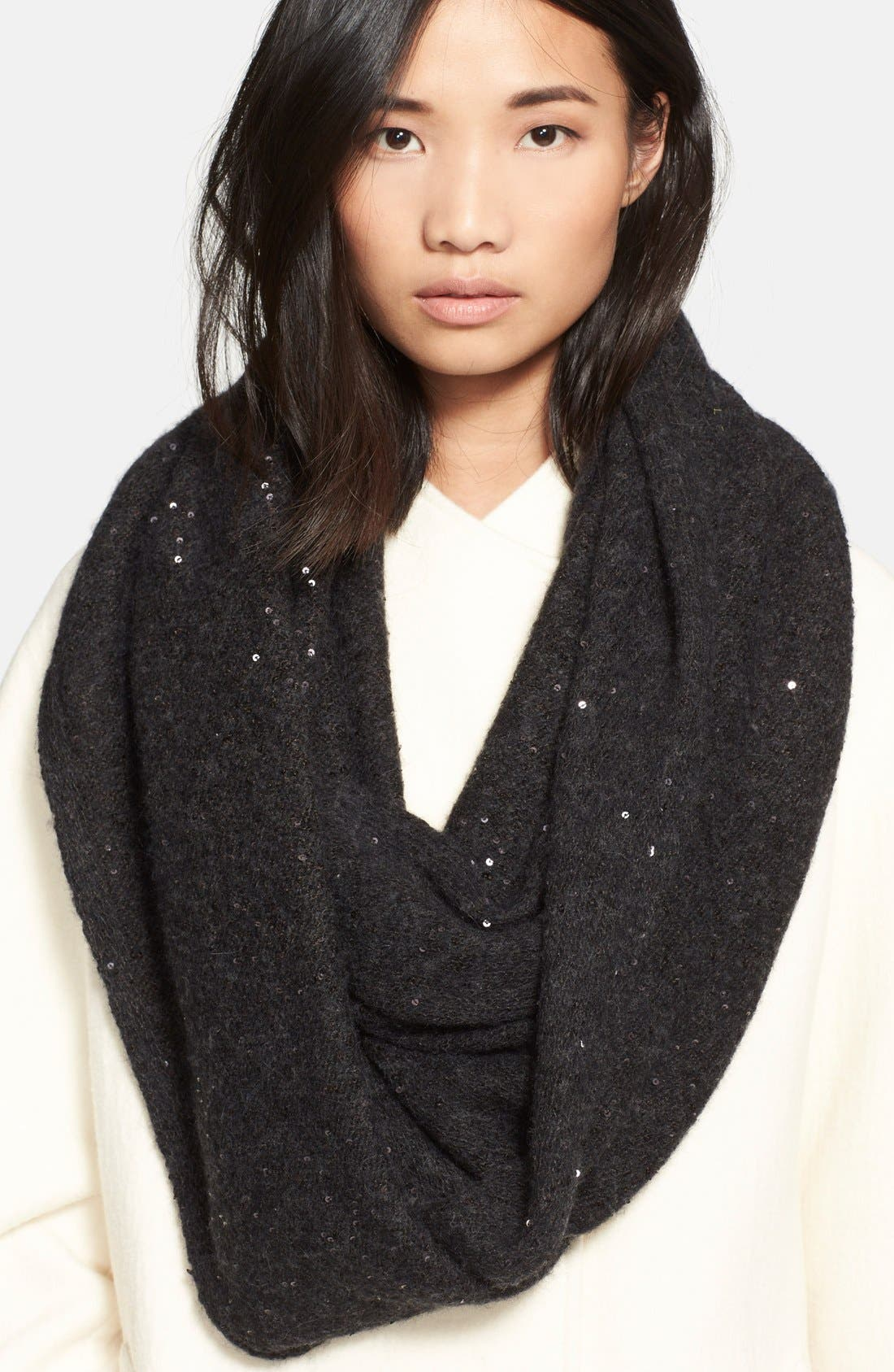 Sequin Infinity Scarf, Main, color, 001
