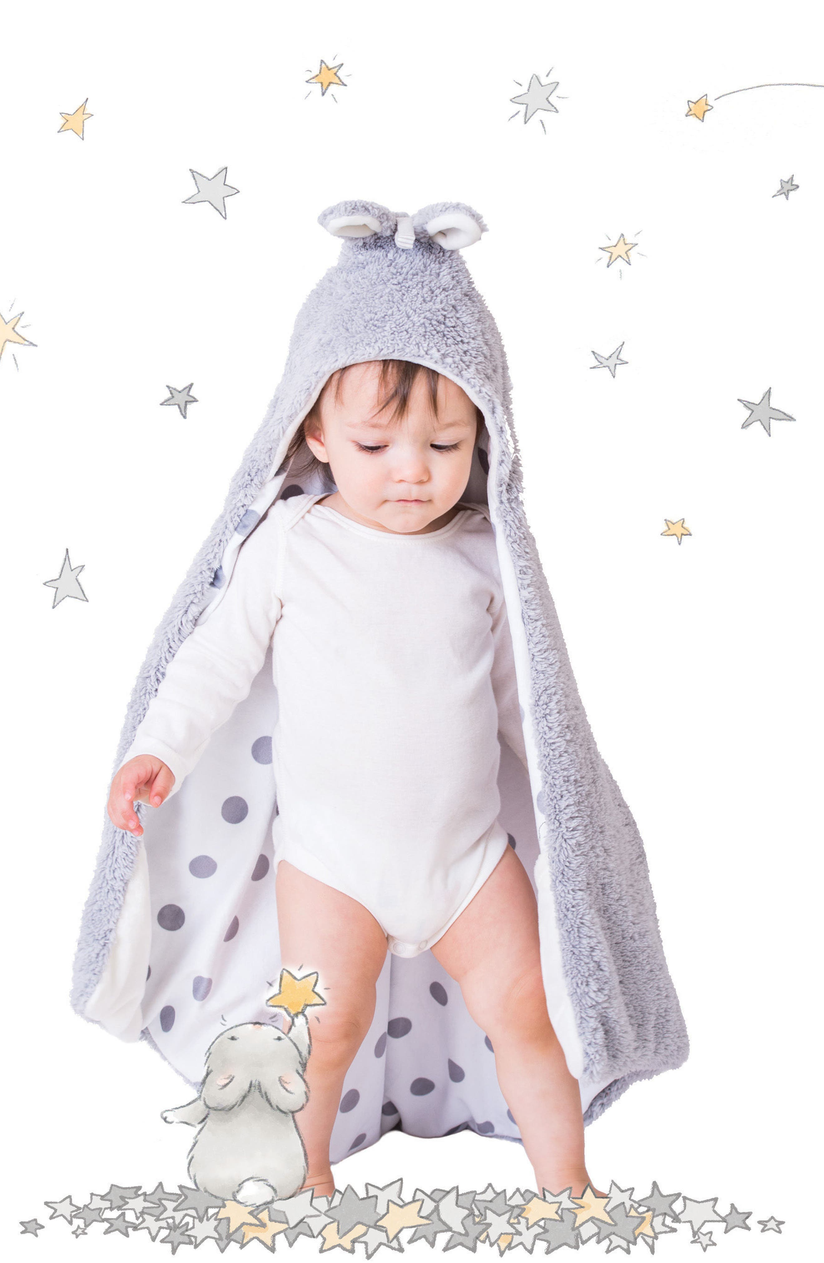 Bunny Hooded Blanket,                             Alternate thumbnail 3, color,                             030