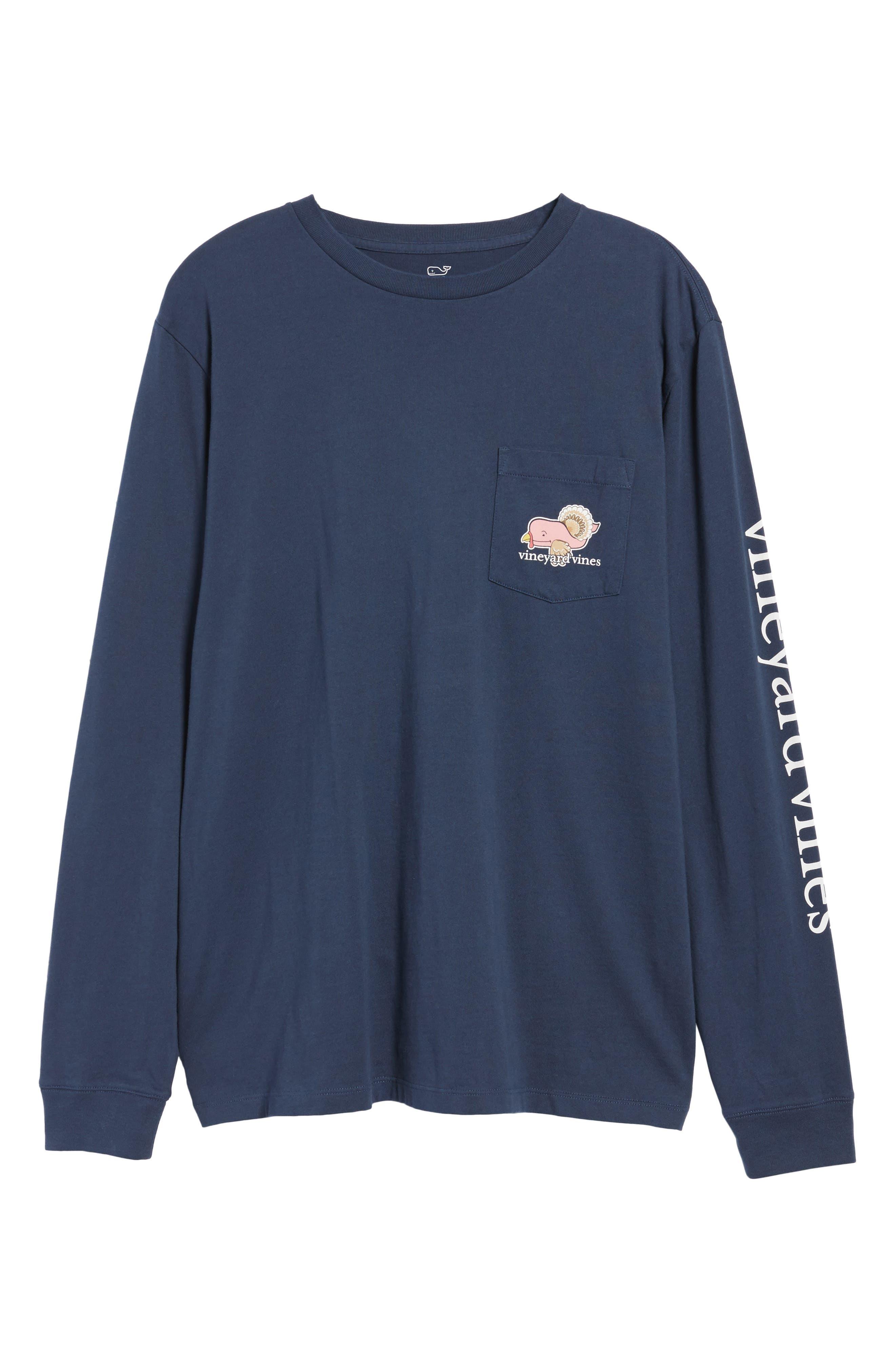 Turkey Whale Graphic Long Sleeve Pocket T-Shirt,                             Alternate thumbnail 6, color,                             406