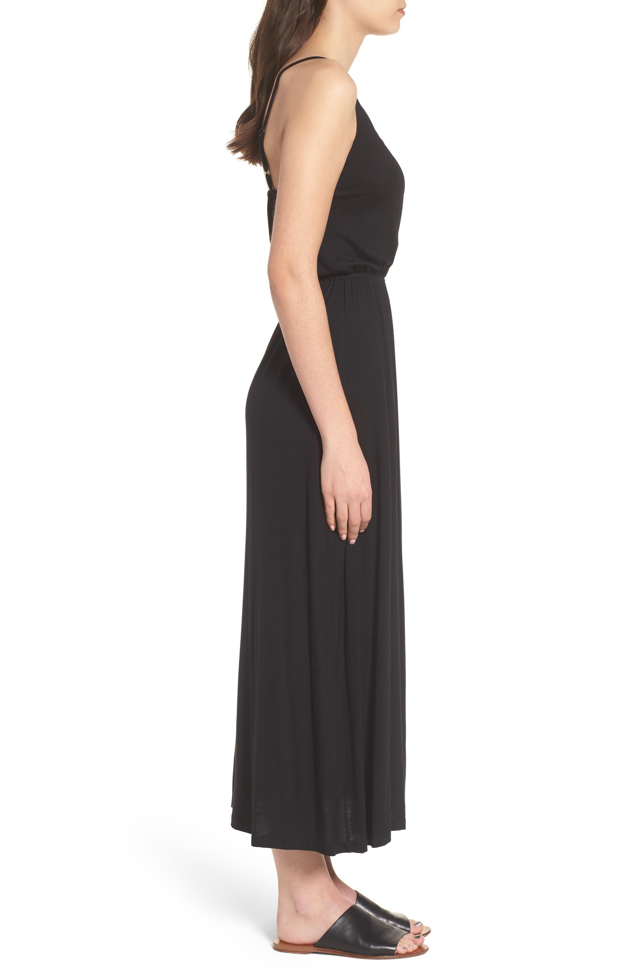 V-Neck Maxi Dress,                             Alternate thumbnail 3, color,                             001