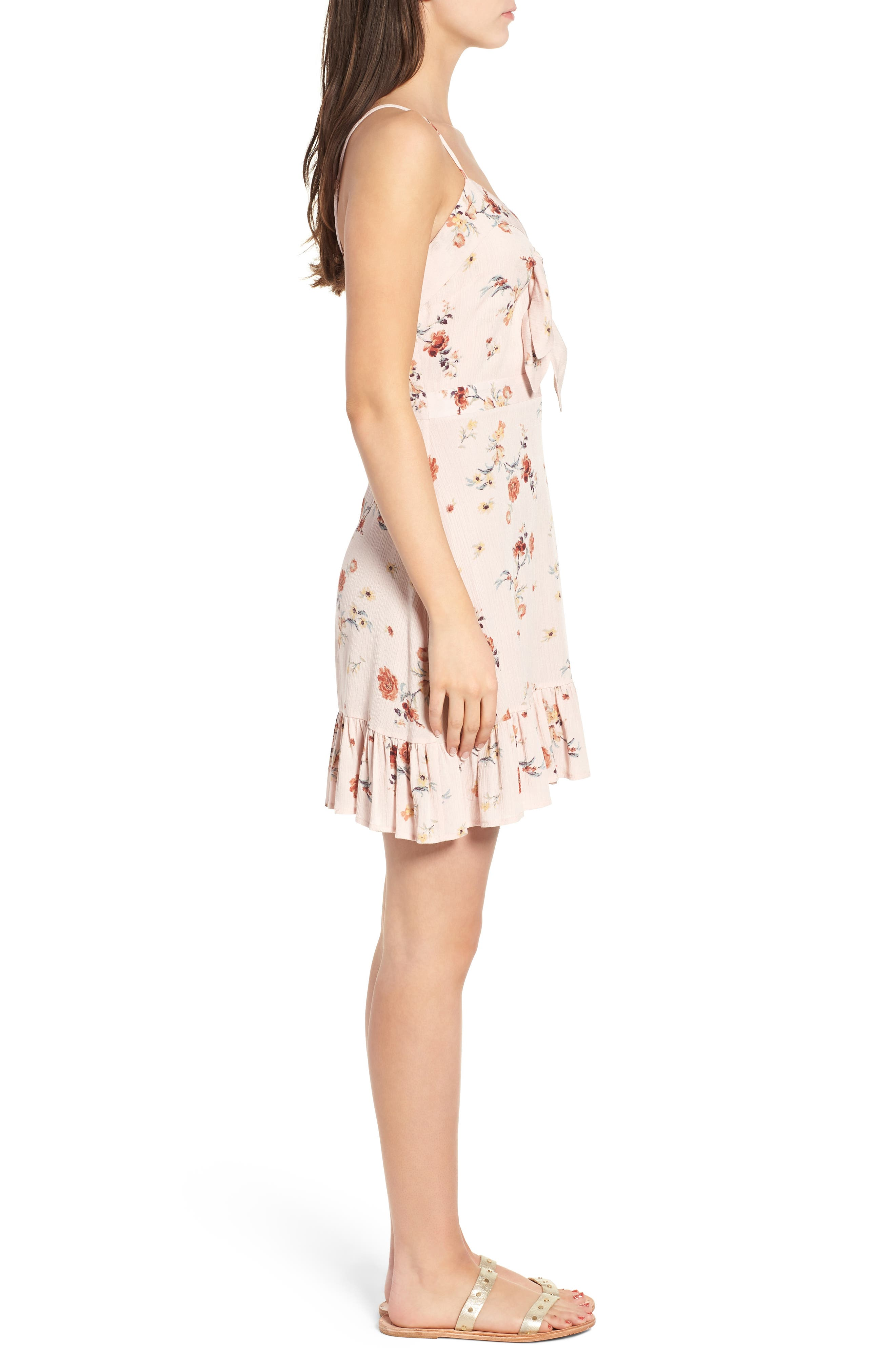 LOST + WANDER,                             Rosa Floral Tie Front Minidress,                             Alternate thumbnail 3, color,                             650