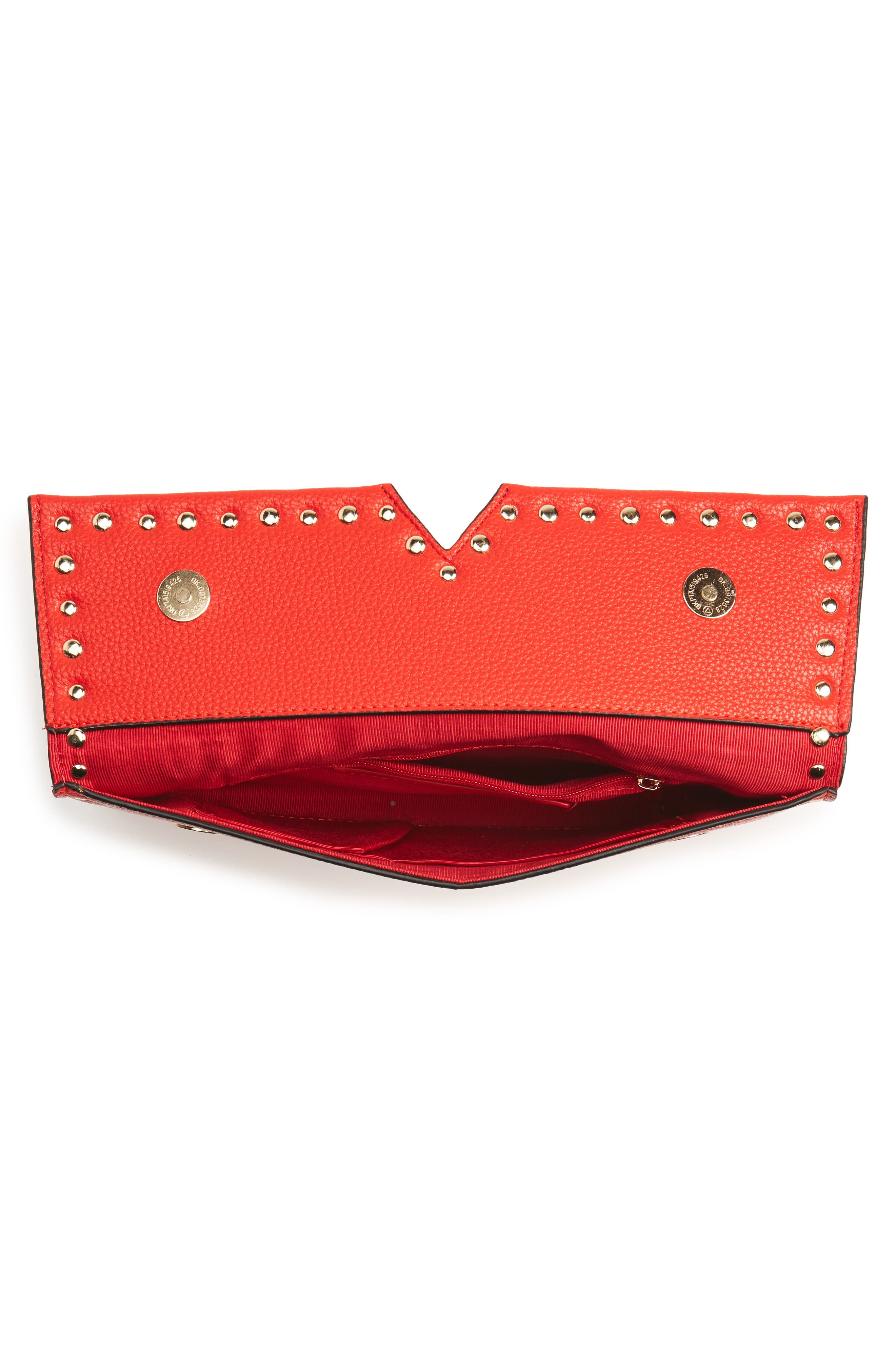 SR Squared by Sondra Roberts Studded Faux Leather Clutch,                             Alternate thumbnail 5, color,                             600