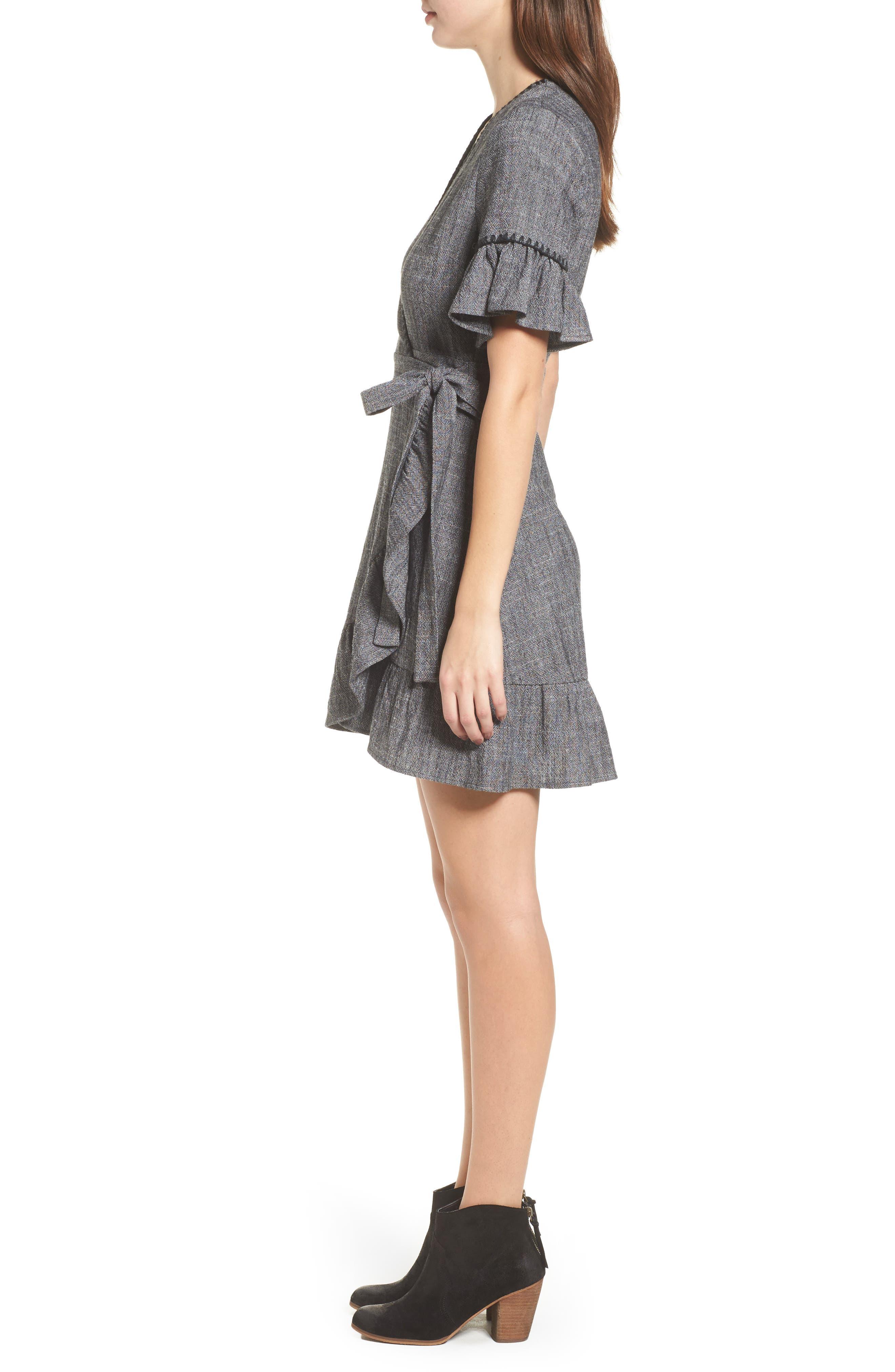 Blanket Stitch Wrap Dress,                             Alternate thumbnail 3, color,                             054