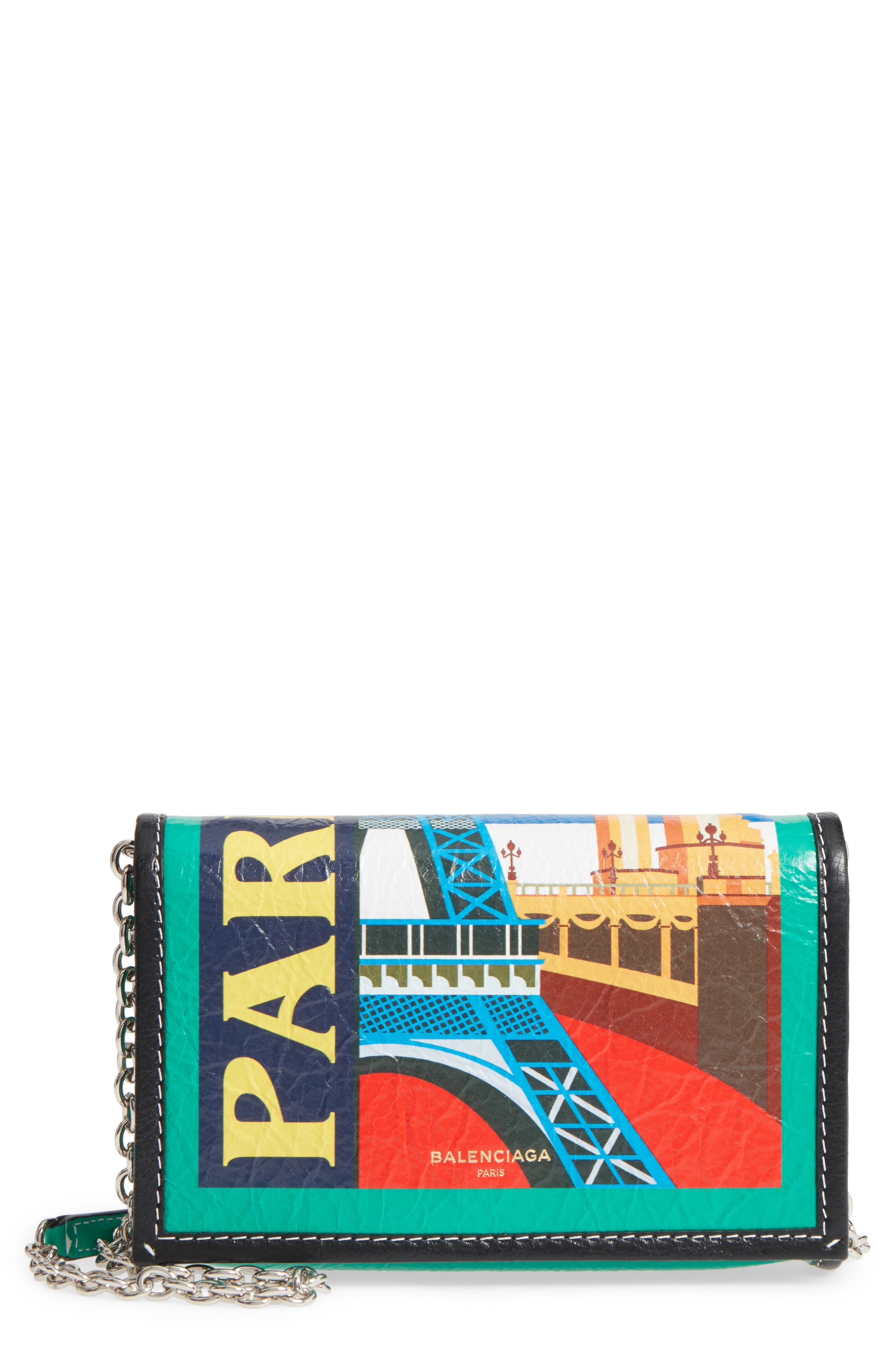 Bazar Printed Leather Wallet on a Chain,                             Main thumbnail 1, color,                             001