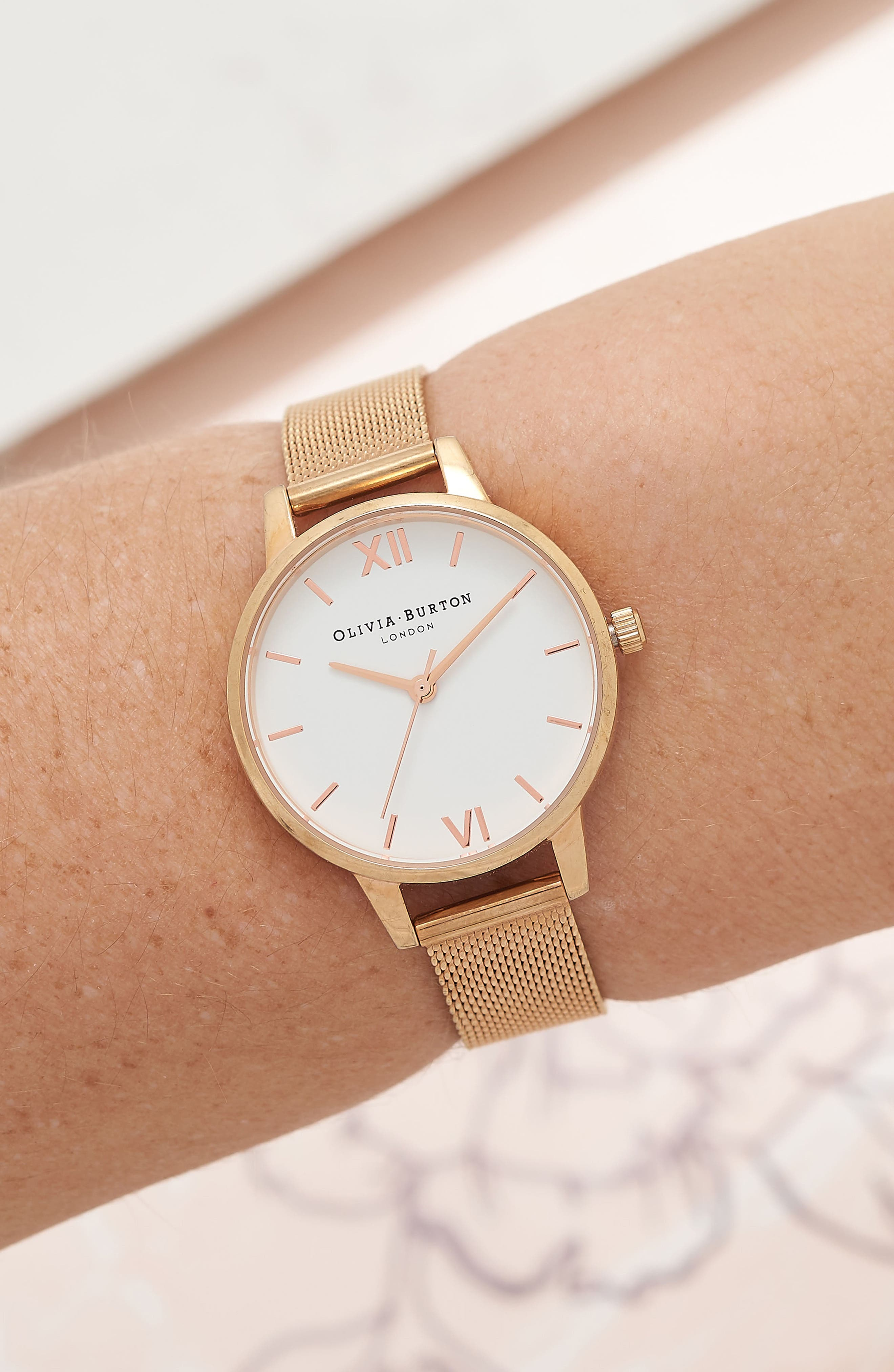 Mesh Strap Watch, 30mm,                             Alternate thumbnail 2, color,                             ROSE GOLD/ WHITE/ ROSE GOLD