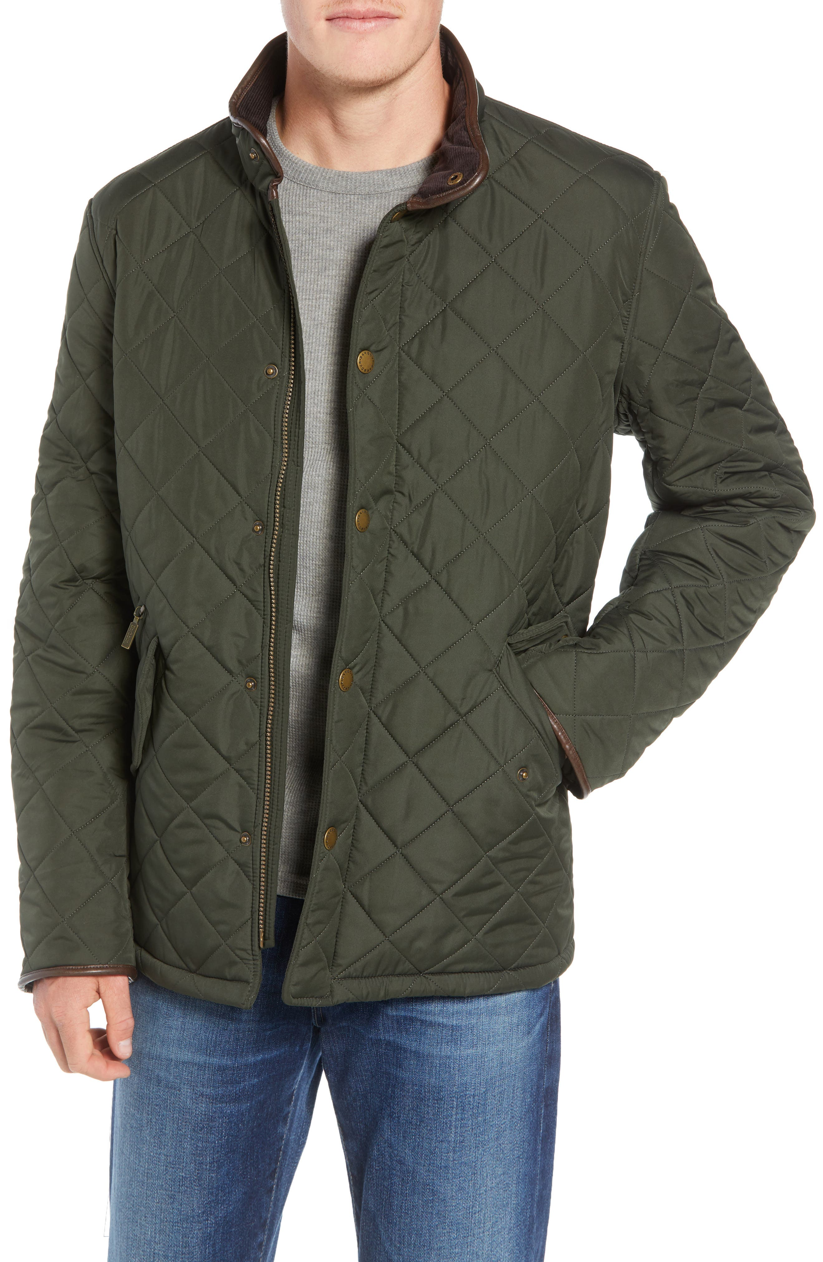 'Powell' Regular Fit Quilted Jacket,                         Main,                         color, SAGE/ OLIVE