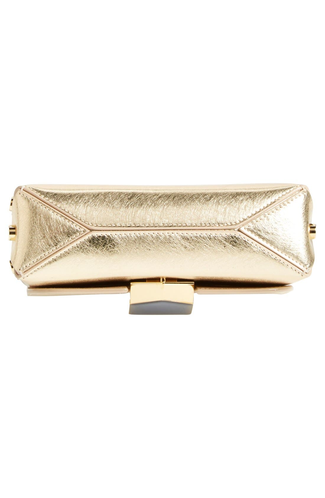 'Lockett Petite' Metallic Leather Shoulder Bag,                             Alternate thumbnail 3, color,                             710