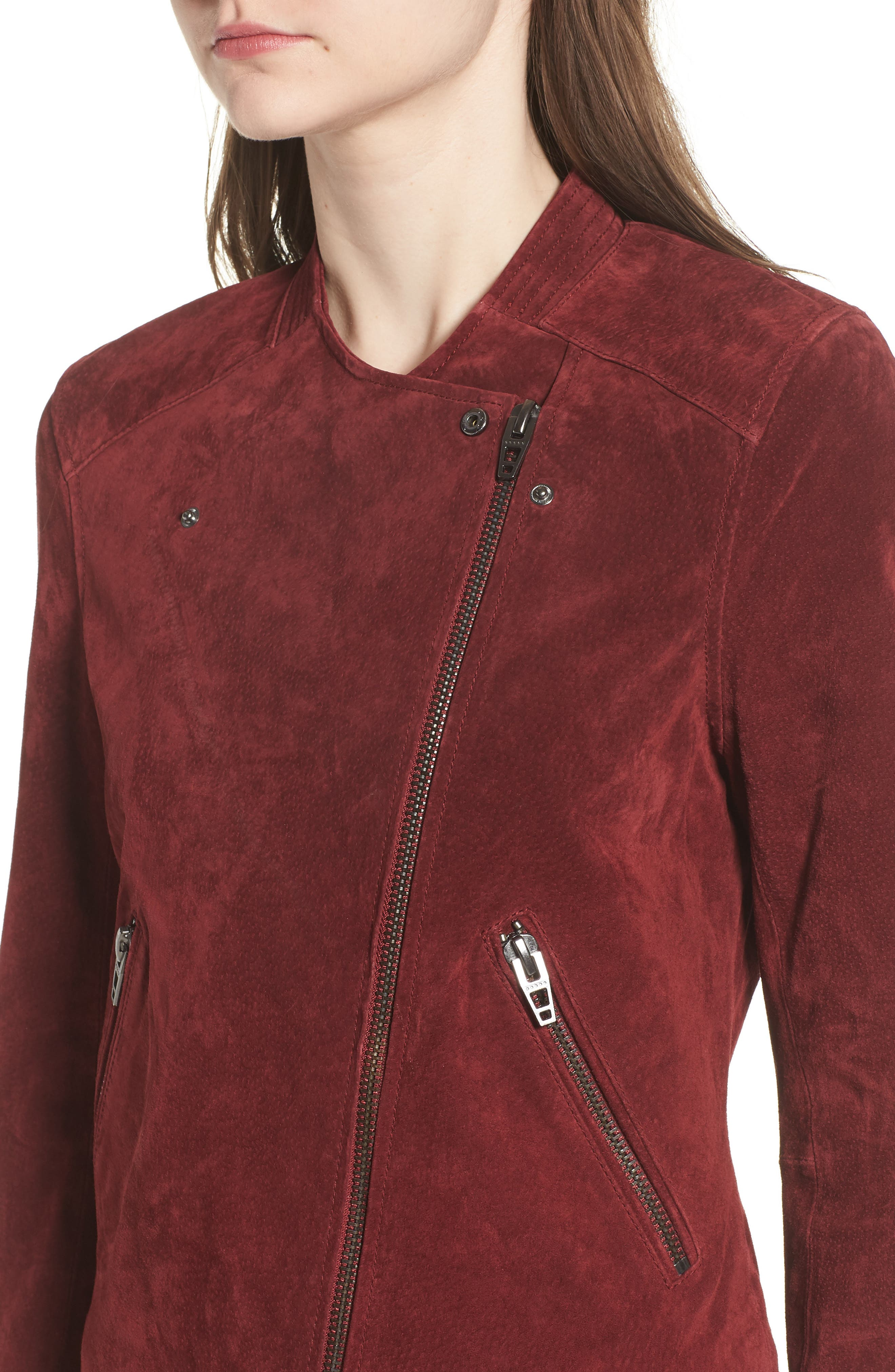 BLANKNYC,                             No Limit Suede Moto Jacket,                             Alternate thumbnail 4, color,                             RUBY