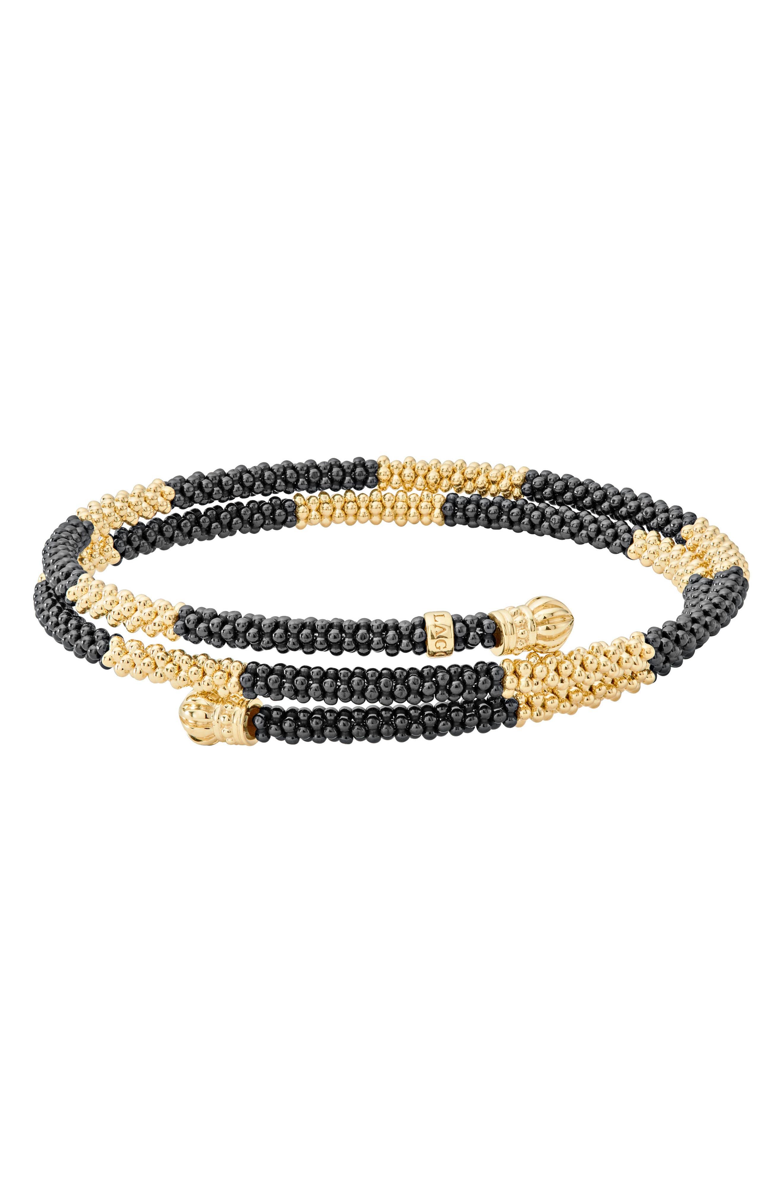 Gold & Black Caviar Coil Bracelet,                             Main thumbnail 1, color,                             GOLD