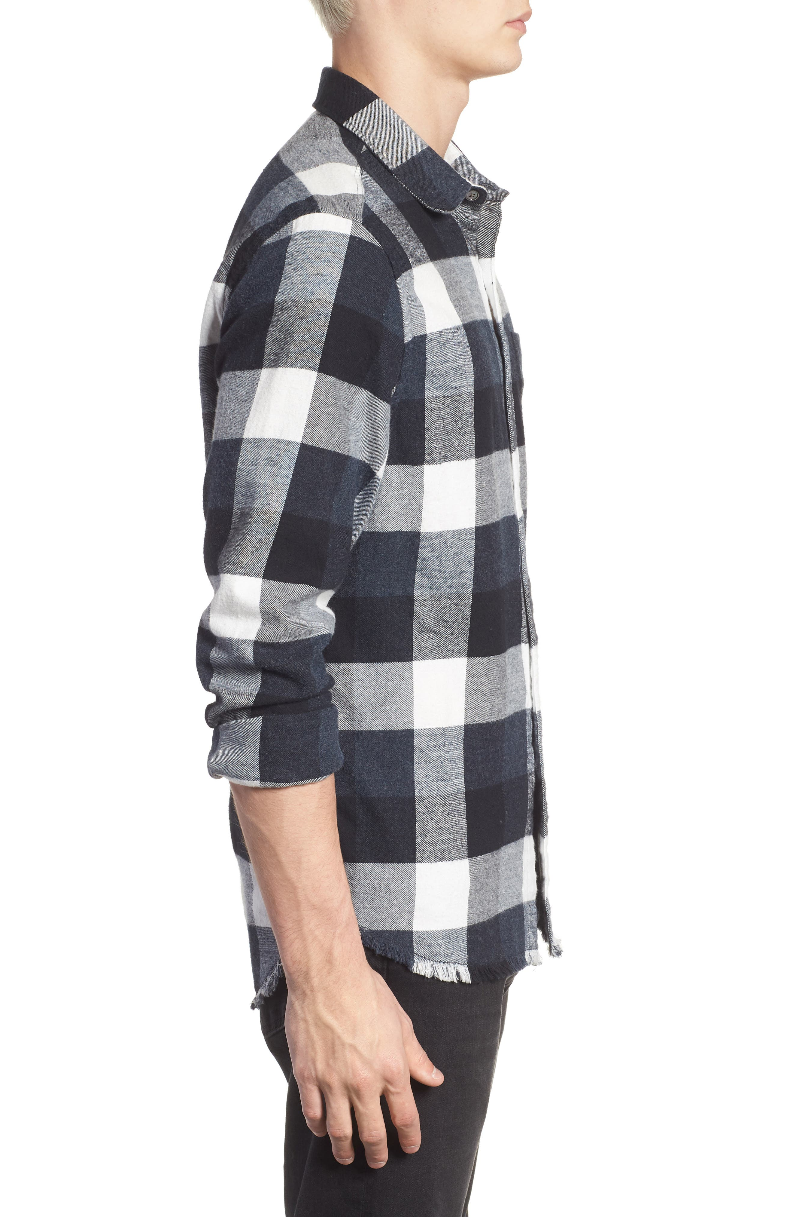 Classic Fit Flannel Sport Shirt,                             Alternate thumbnail 3, color,                             001