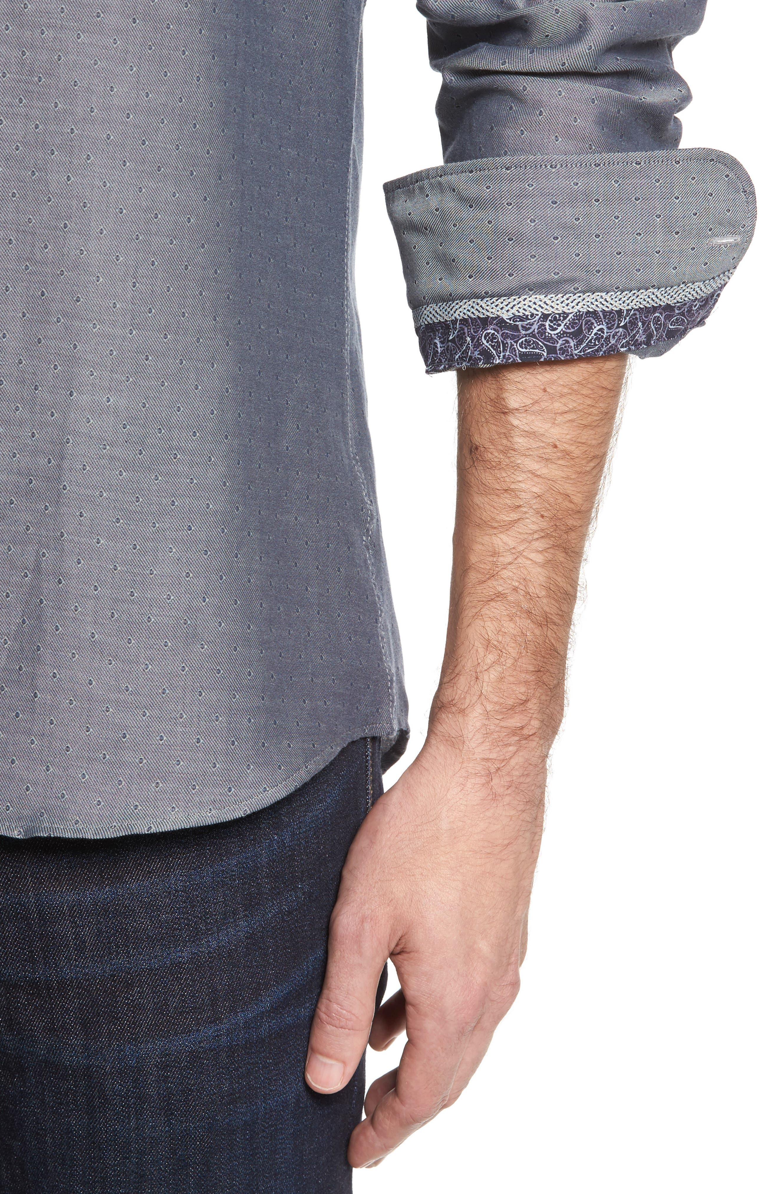Slim Fit Diamond Twill Sport Shirt,                             Alternate thumbnail 4, color,                             020