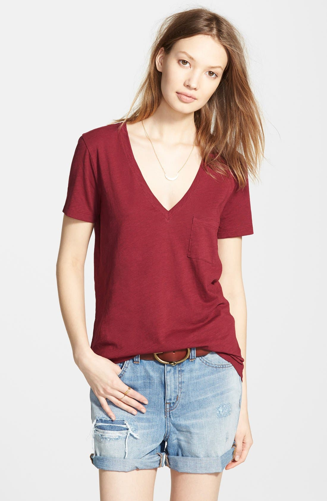 Whisper Cotton V-Neck Pocket Tee,                             Main thumbnail 42, color,