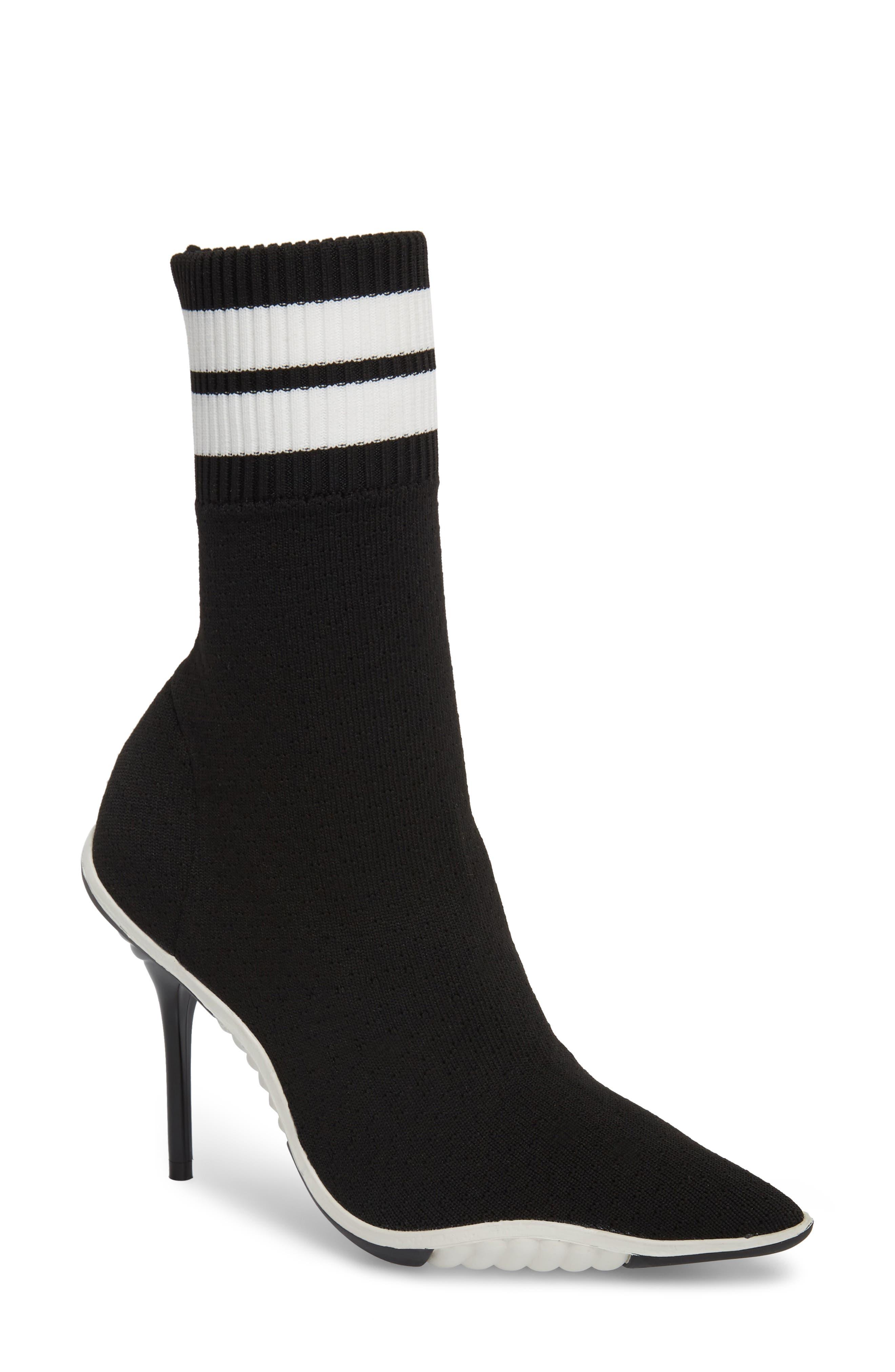 Goal Sock Sneaker Bootie,                             Main thumbnail 1, color,                             BLACK/ WHITE FABRIC