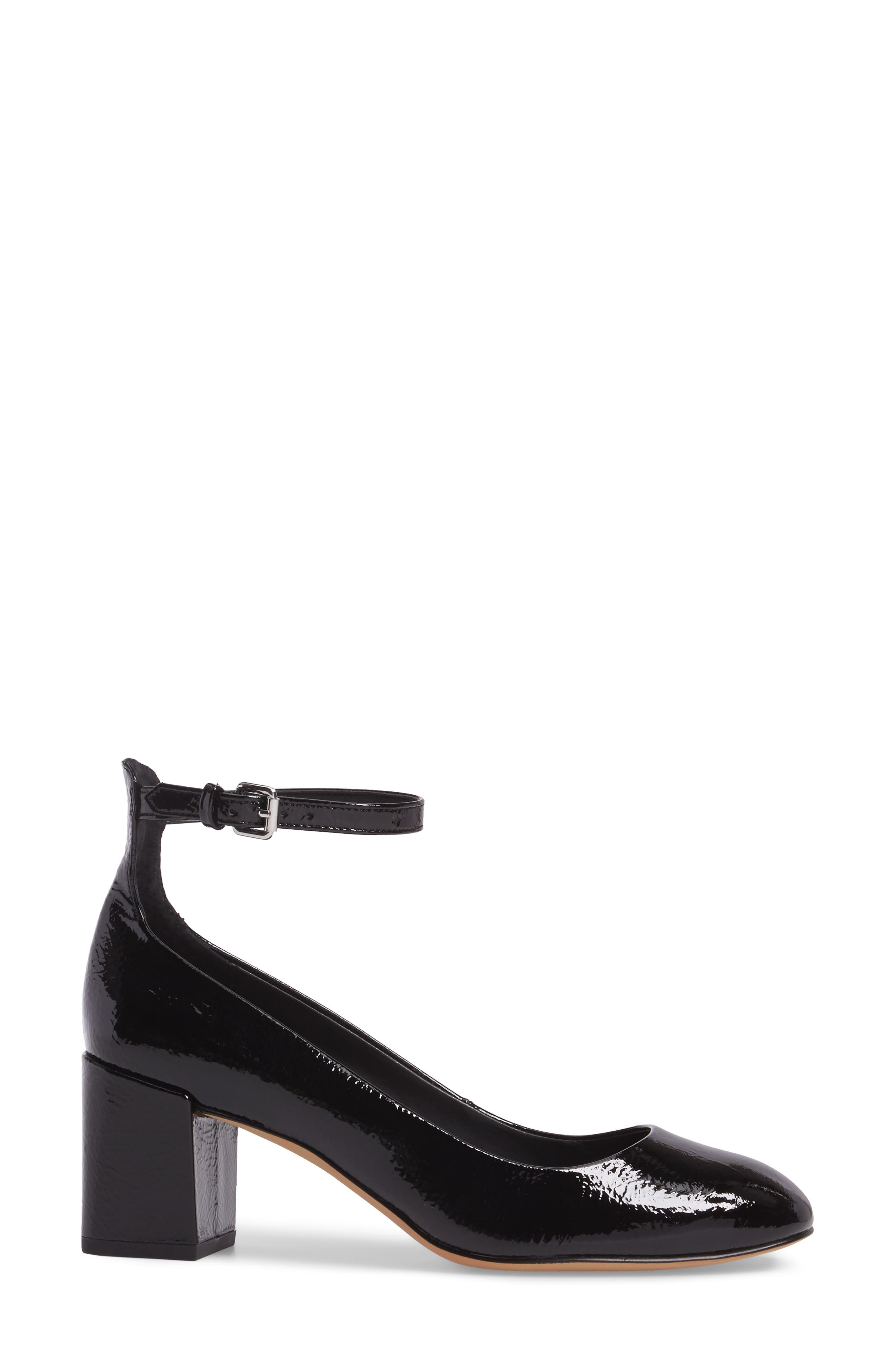 Bridget Ankle Strap Pump,                             Alternate thumbnail 3, color,                             001