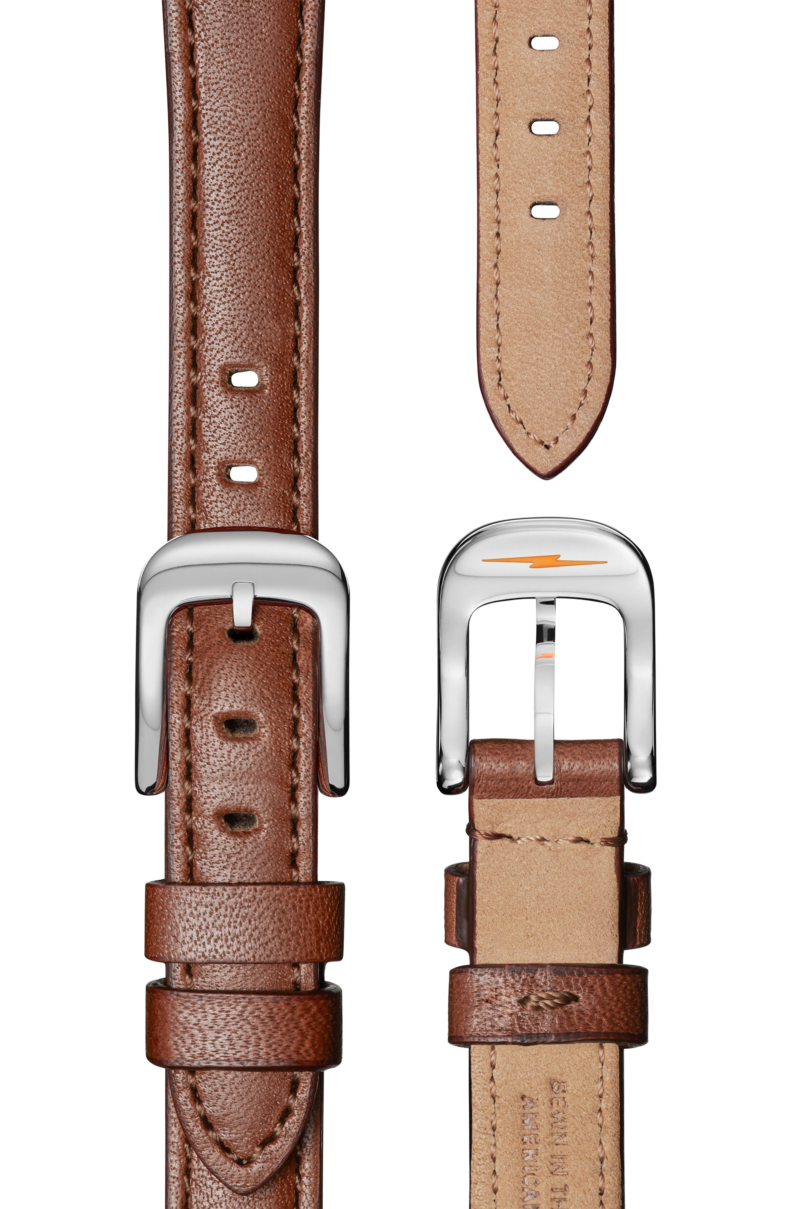 The Runwell Leather Strap Watch, 28mm,                             Alternate thumbnail 4, color,                             DARK COGNAC/ WHITE/ SILVER