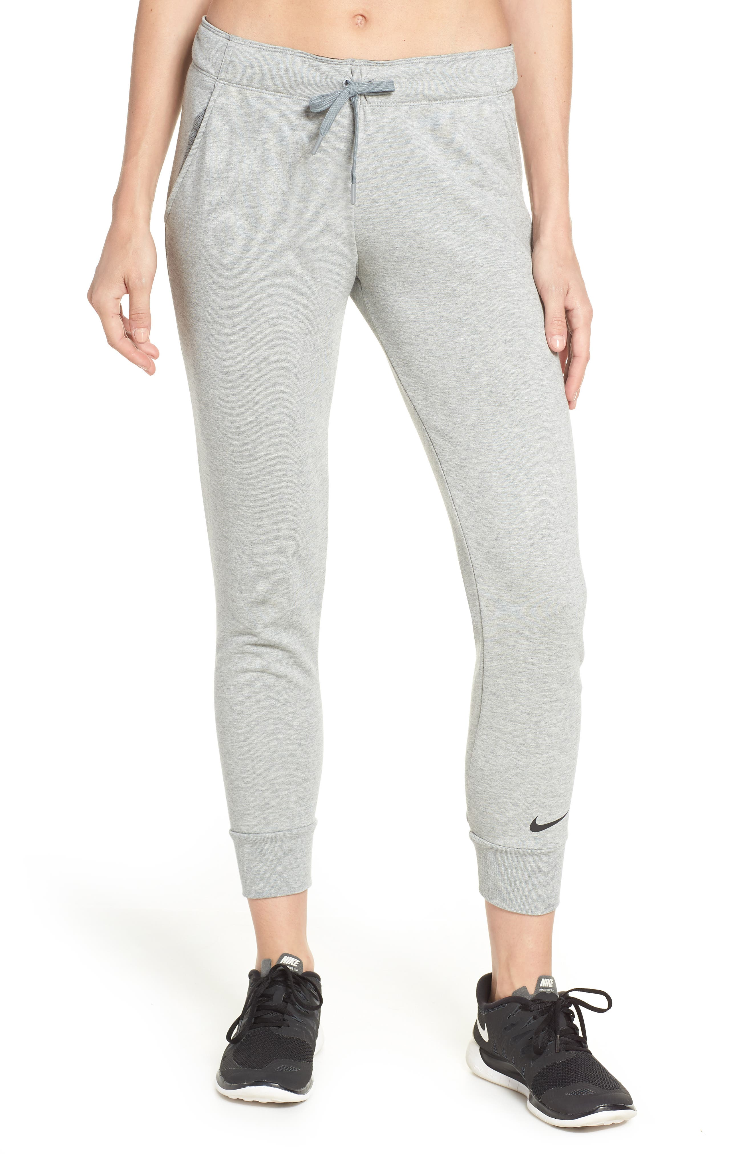 Tapered Training Pants,                         Main,                         color, DARK GREY HEATHER/ BLACK