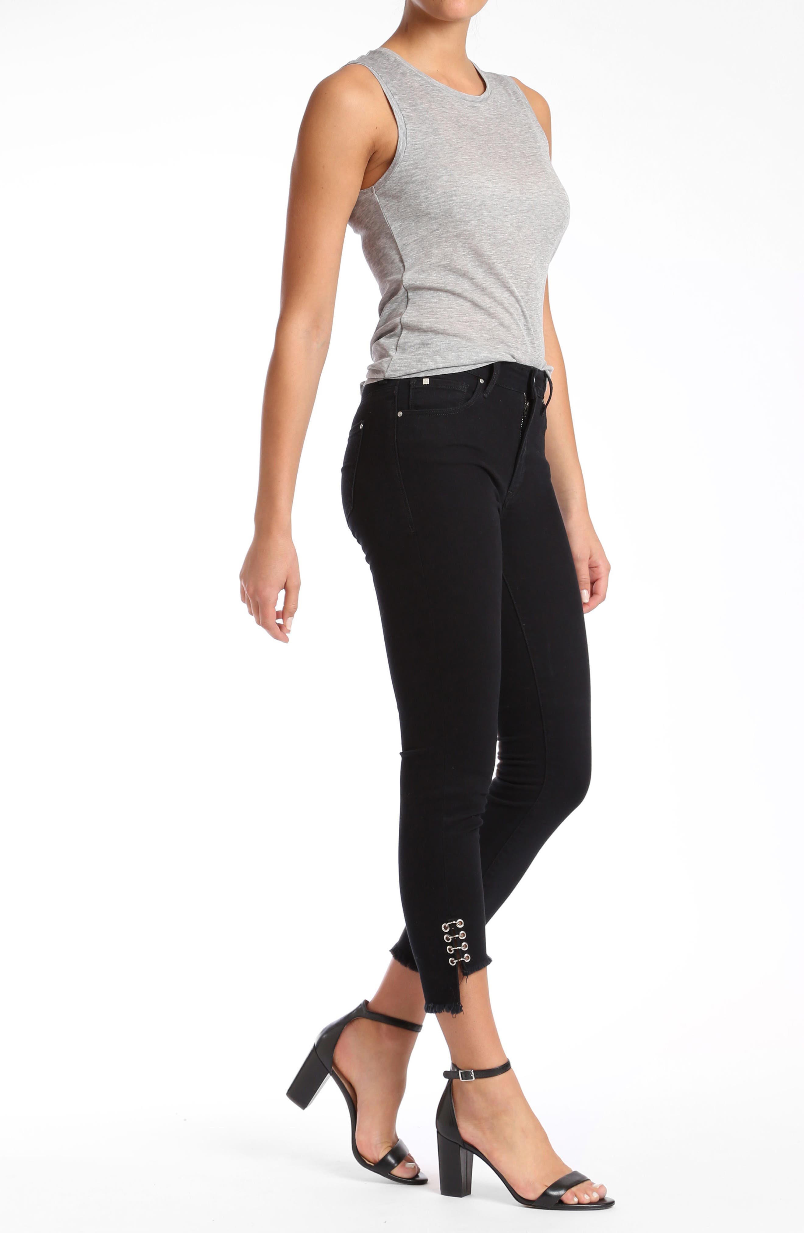 Mavi Tess Super Skinny Black Jeans,                             Alternate thumbnail 4, color,