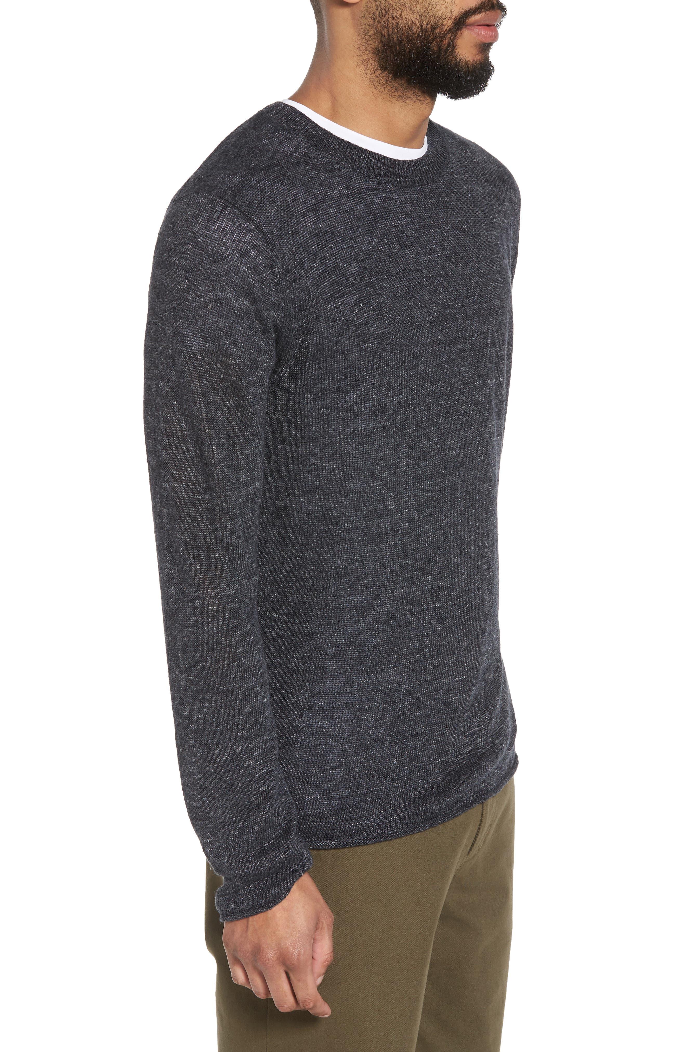Slim Fit Linen Crewneck Sweater,                             Alternate thumbnail 3, color,                             001