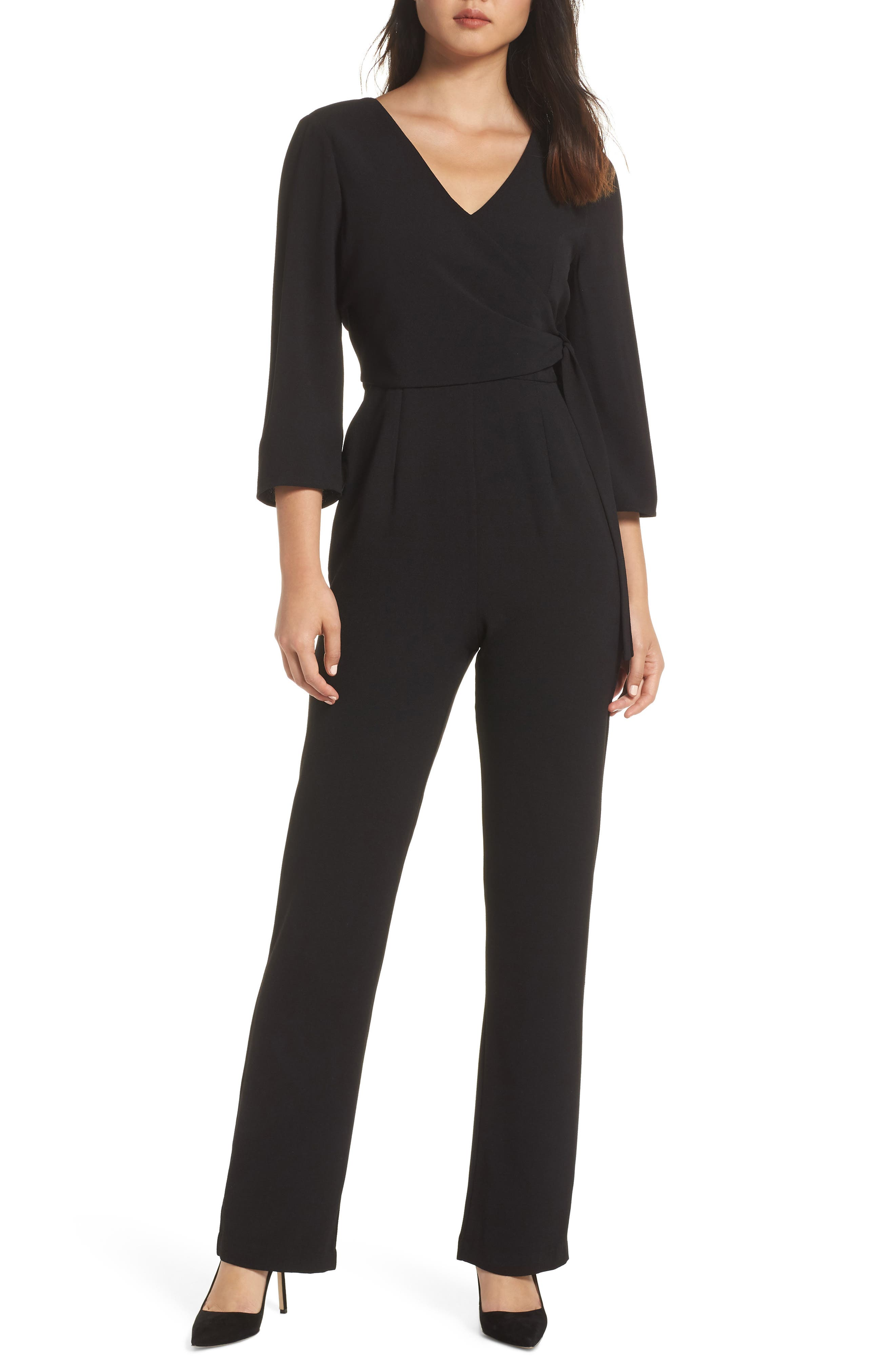 CHARLES HENRY Faux Wrap Jumpsuit in Black