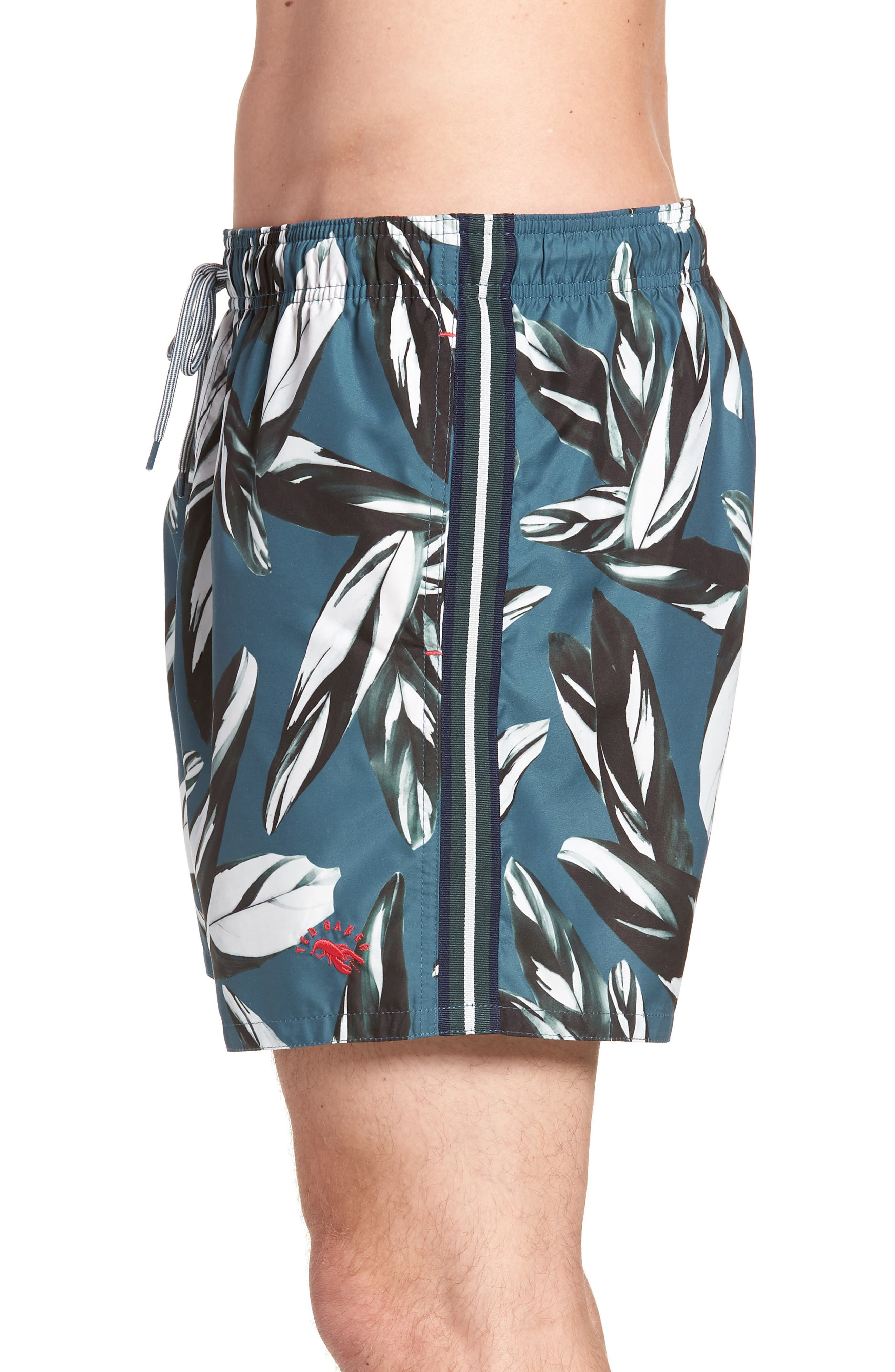 Bury Leaf Print Swim Shorts,                             Alternate thumbnail 3, color,                             440