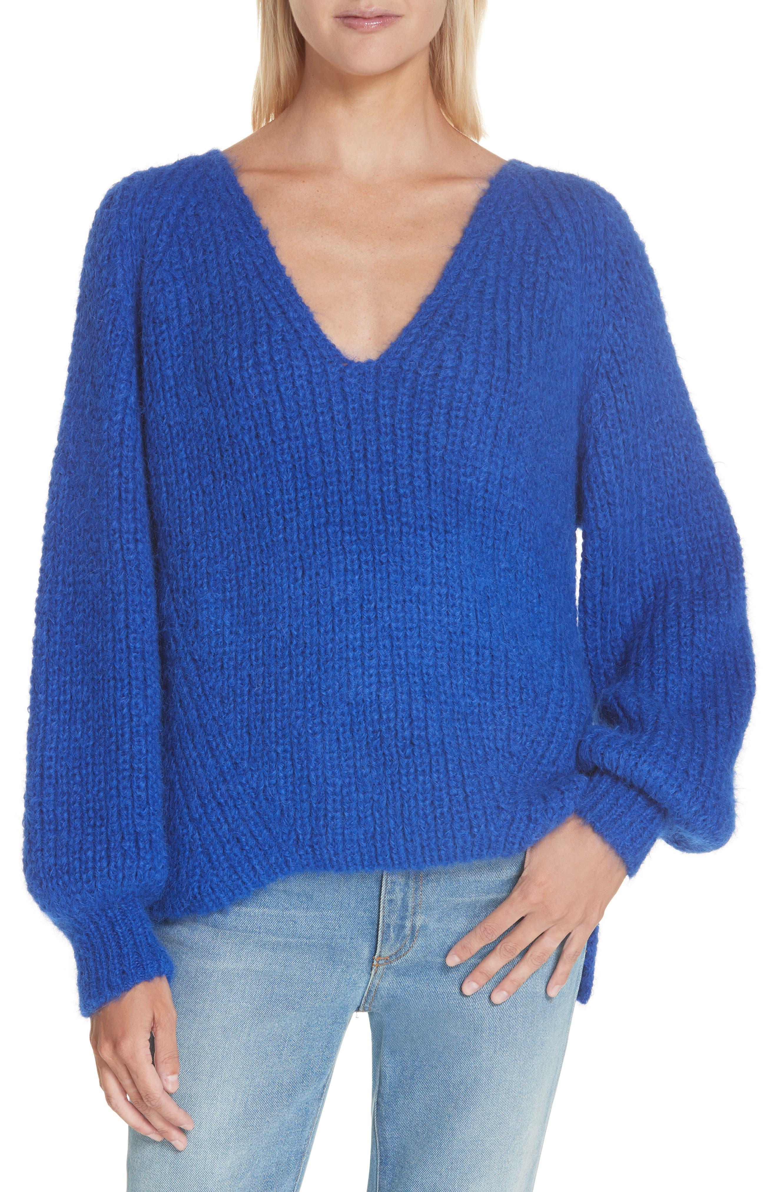 ELEVEN SIX Tess Alpaca & Wool Blend Sweater, Main, color, COLBOLT BLUE