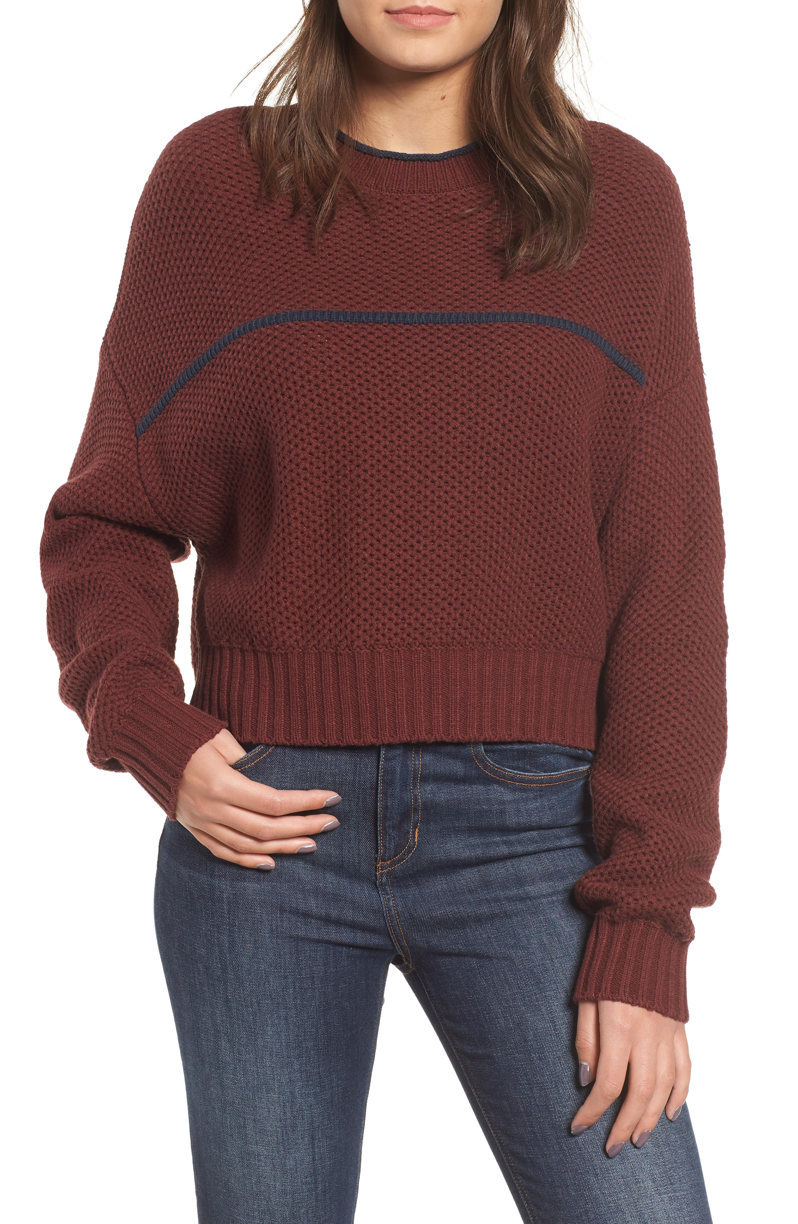 Rvca Jammer Seed Stitch Sweater, Burgundy
