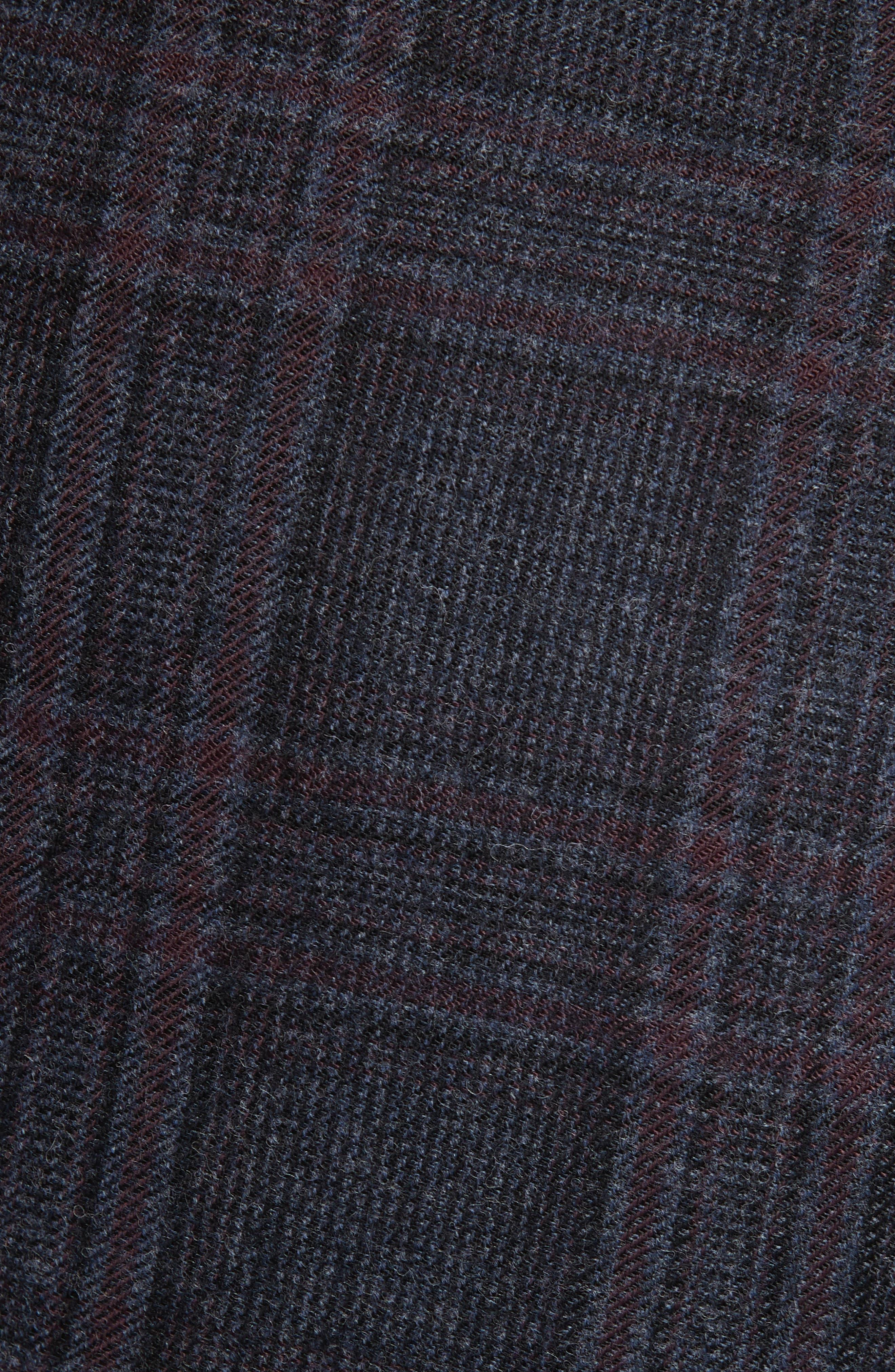 Plaid Stretch Wool Blend Pants,                             Alternate thumbnail 5, color,                             BLUE