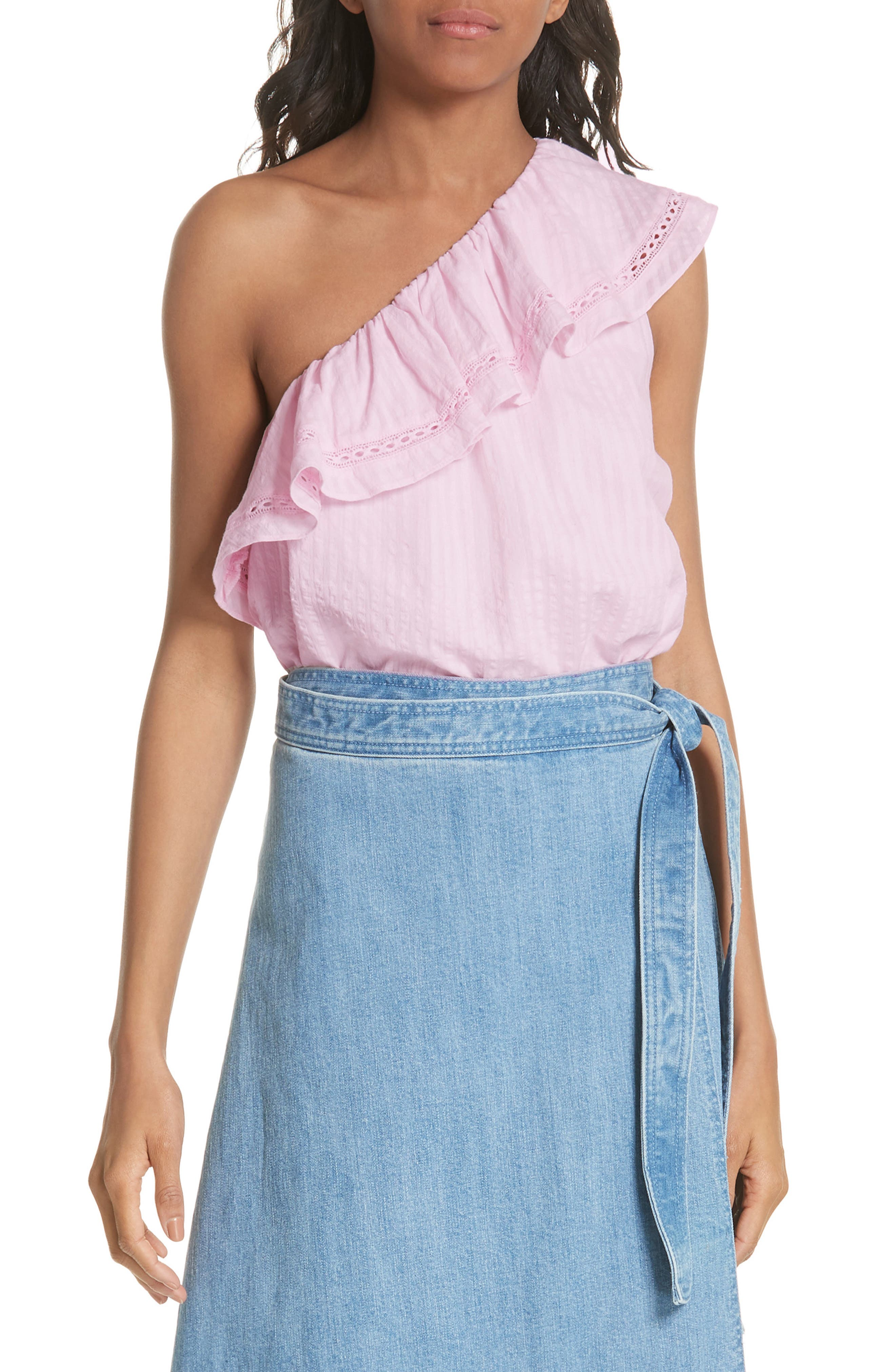 puckered cotton one-shoulder top,                         Main,                         color,