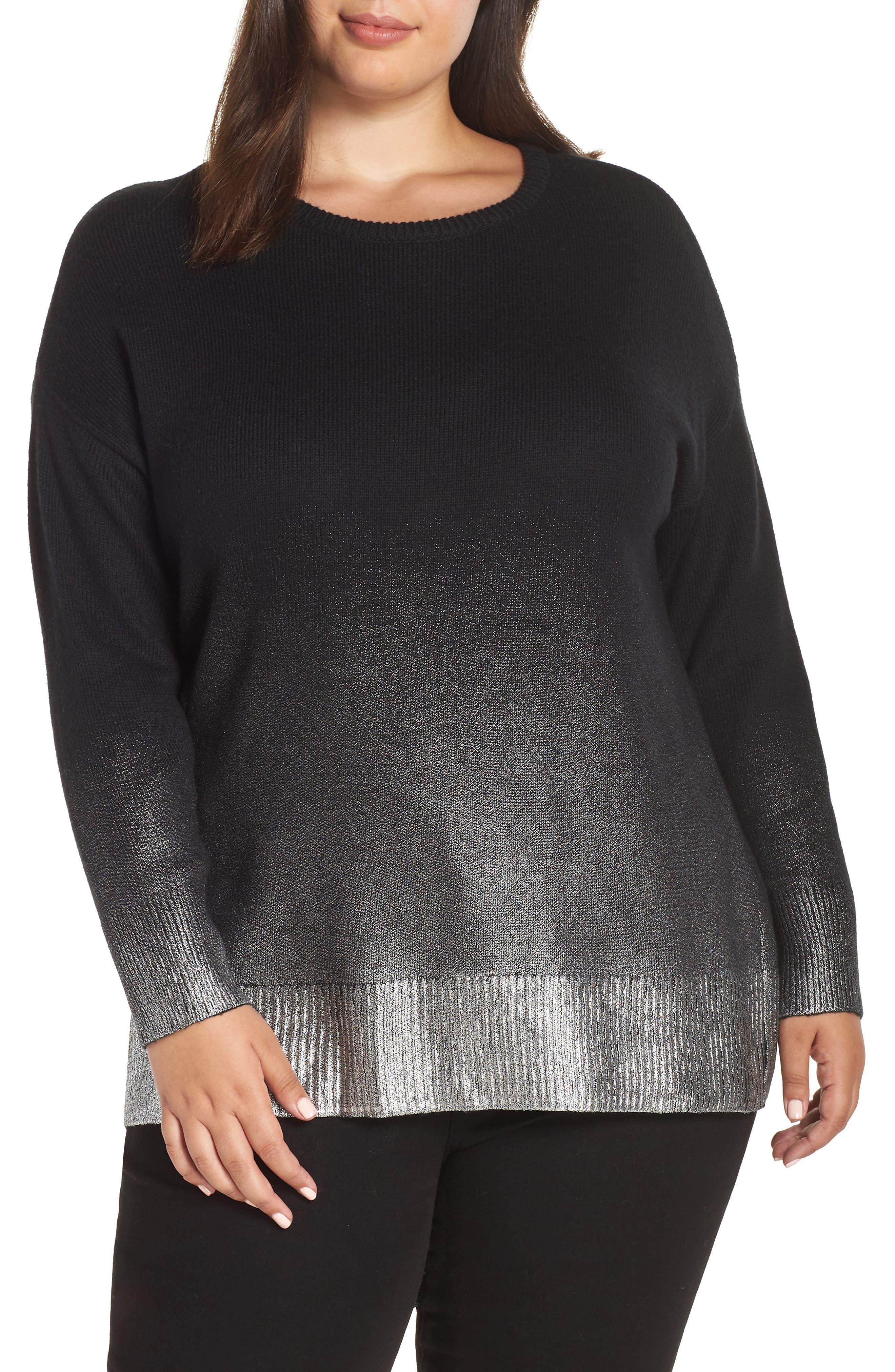 Long Sleeve Foiled Ombré Sweater,                         Main,                         color, RICH BLACK