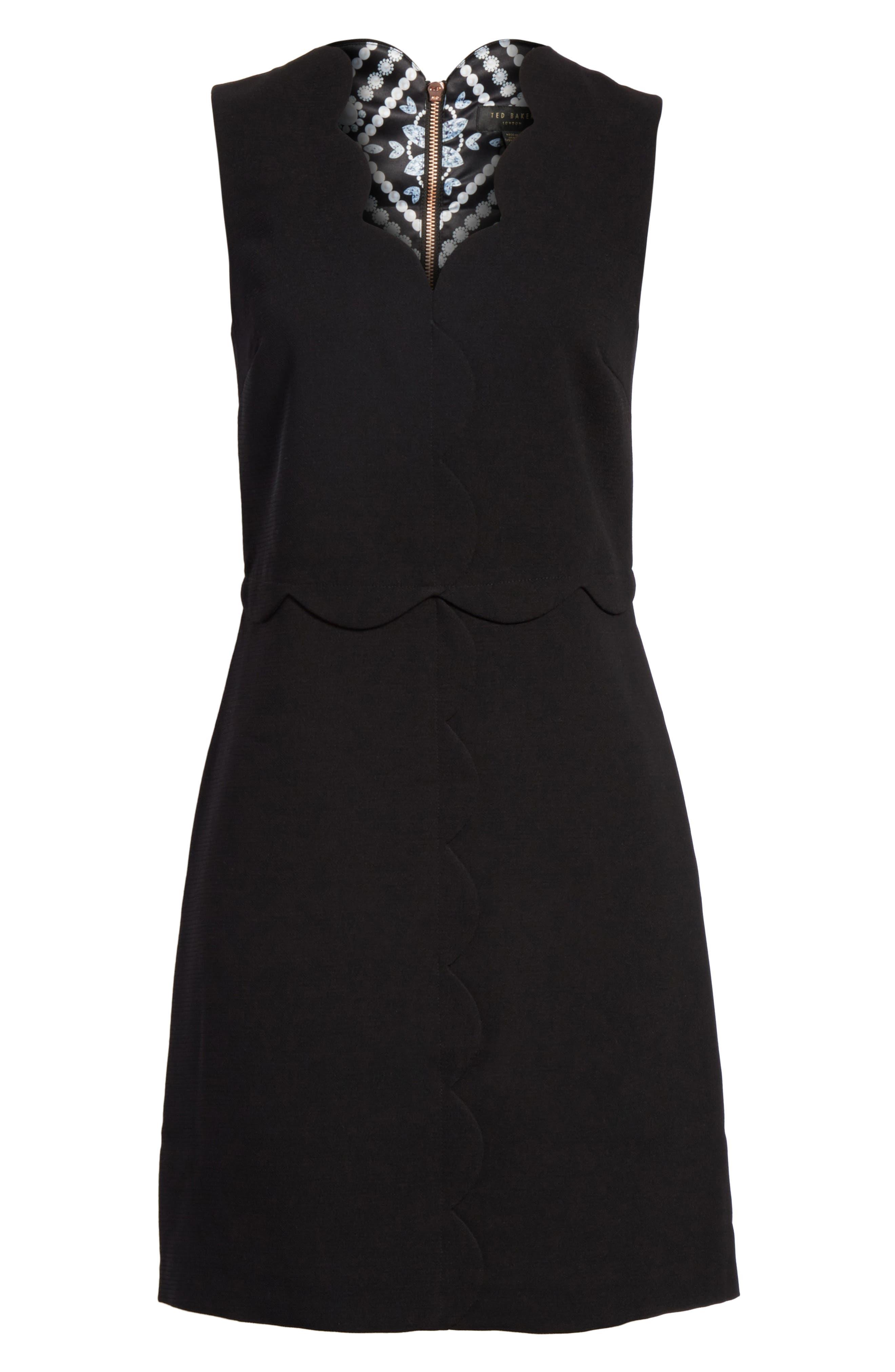 Scallop Edge Shift Dress,                             Alternate thumbnail 6, color,                             001