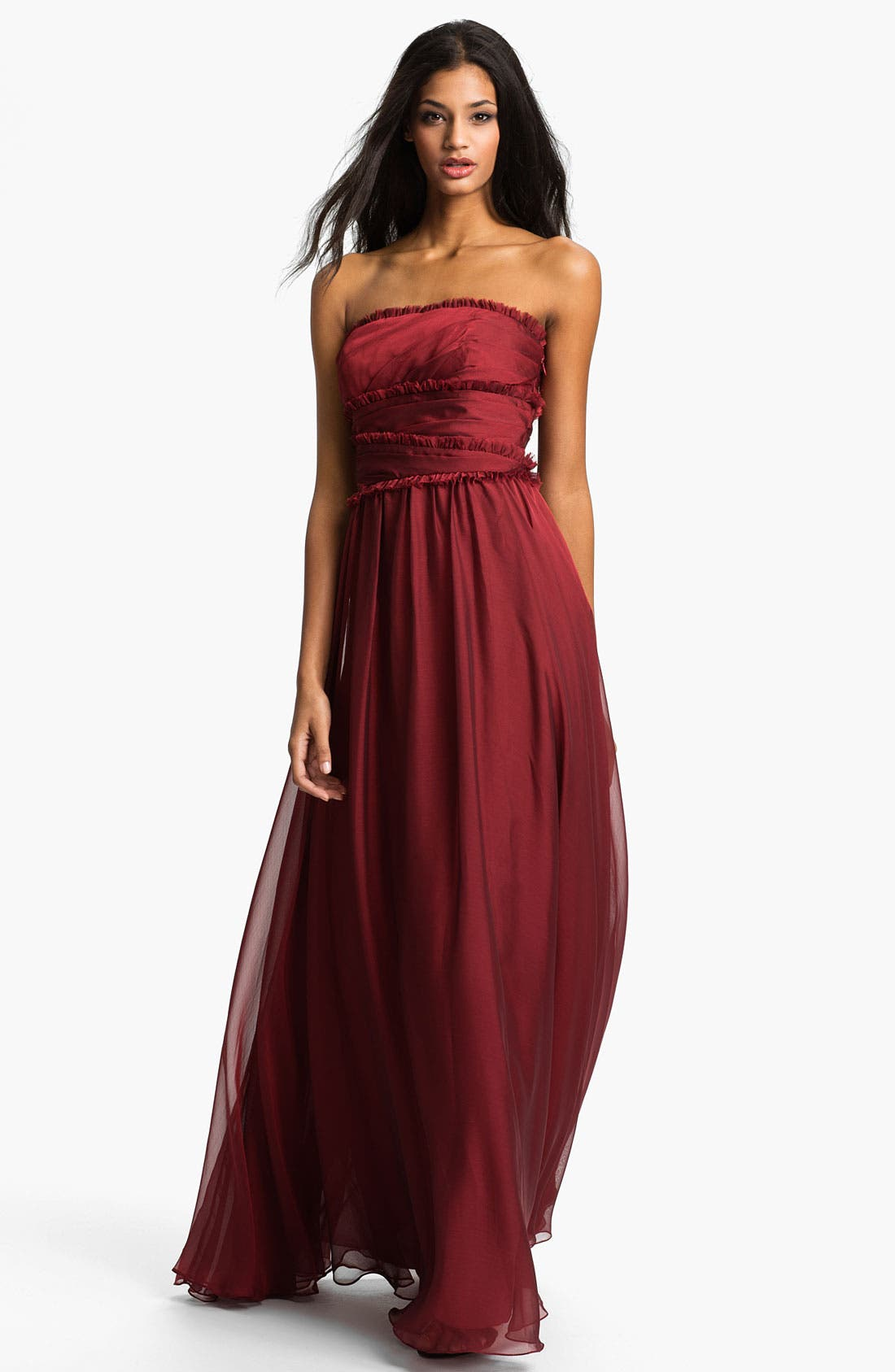 ML Monique Lhuillier Bridesmaids Strapless Chiffon Gown,                             Main thumbnail 15, color,