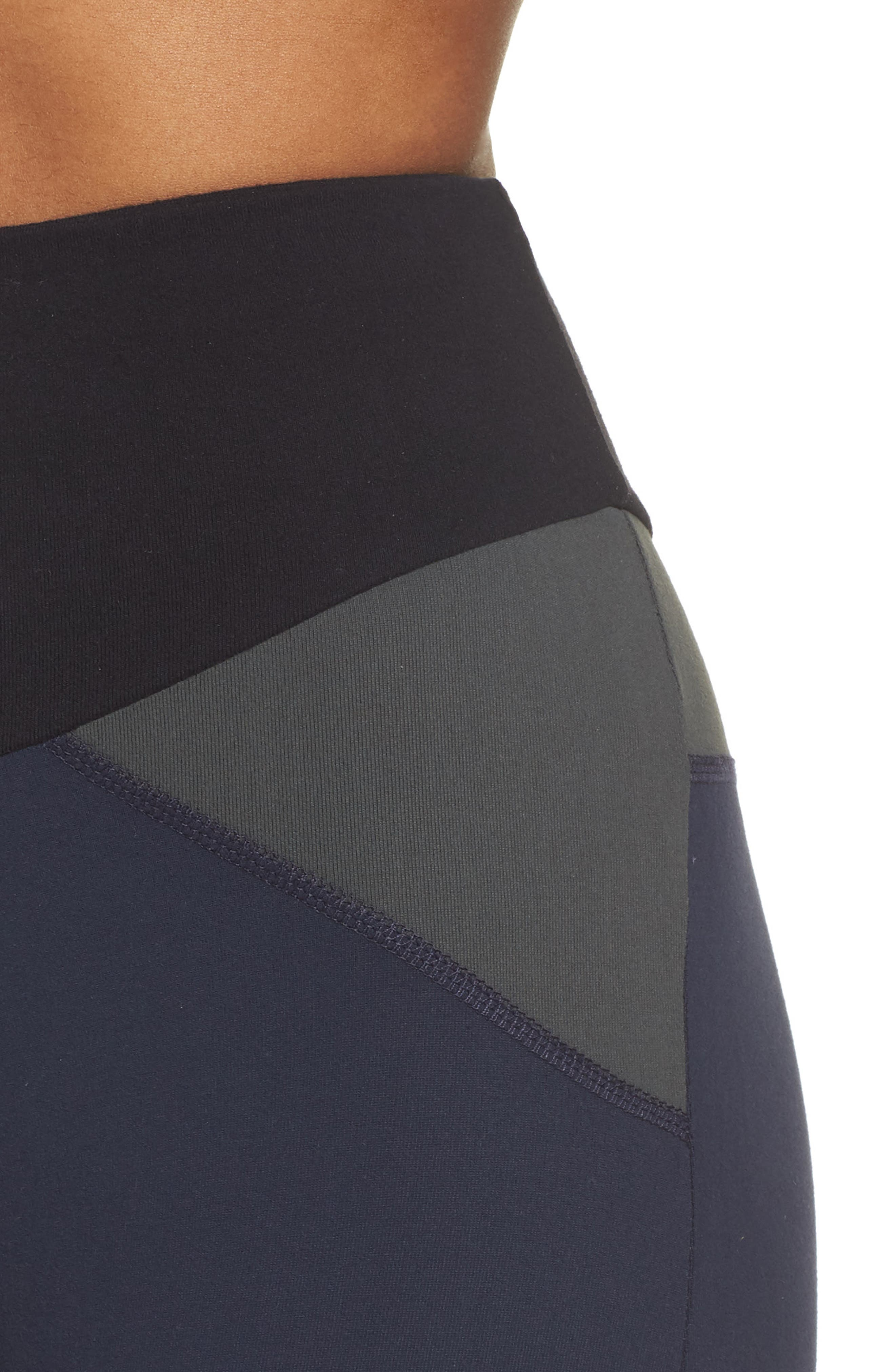 BoomBoom Athletica Brushed Tricolor Panel Leggings,                             Alternate thumbnail 4, color,                             NAVY/ BLACK/ GREEN