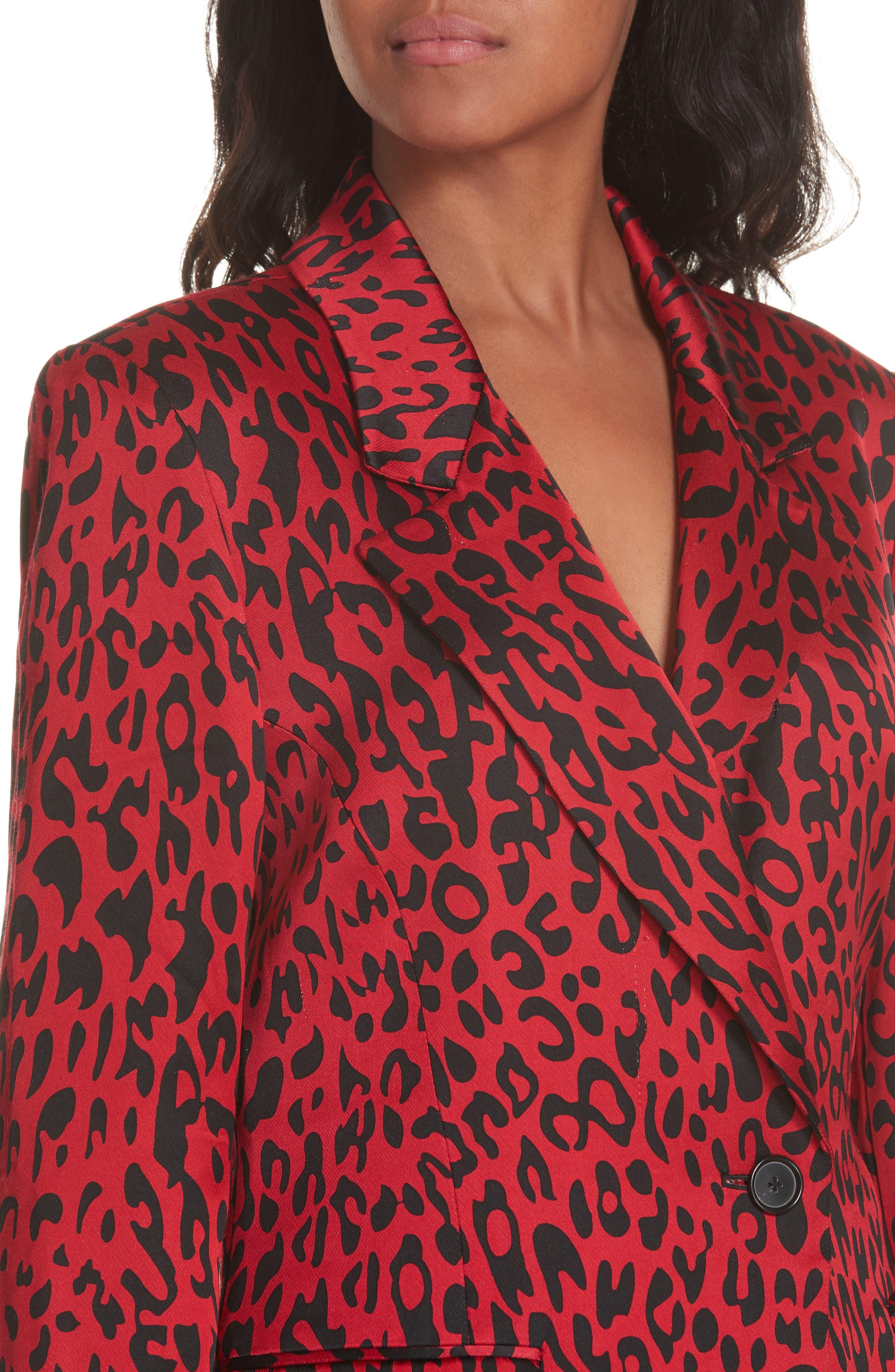 Leopard Print Blazer,                             Alternate thumbnail 4, color,                             RED LEOPARD