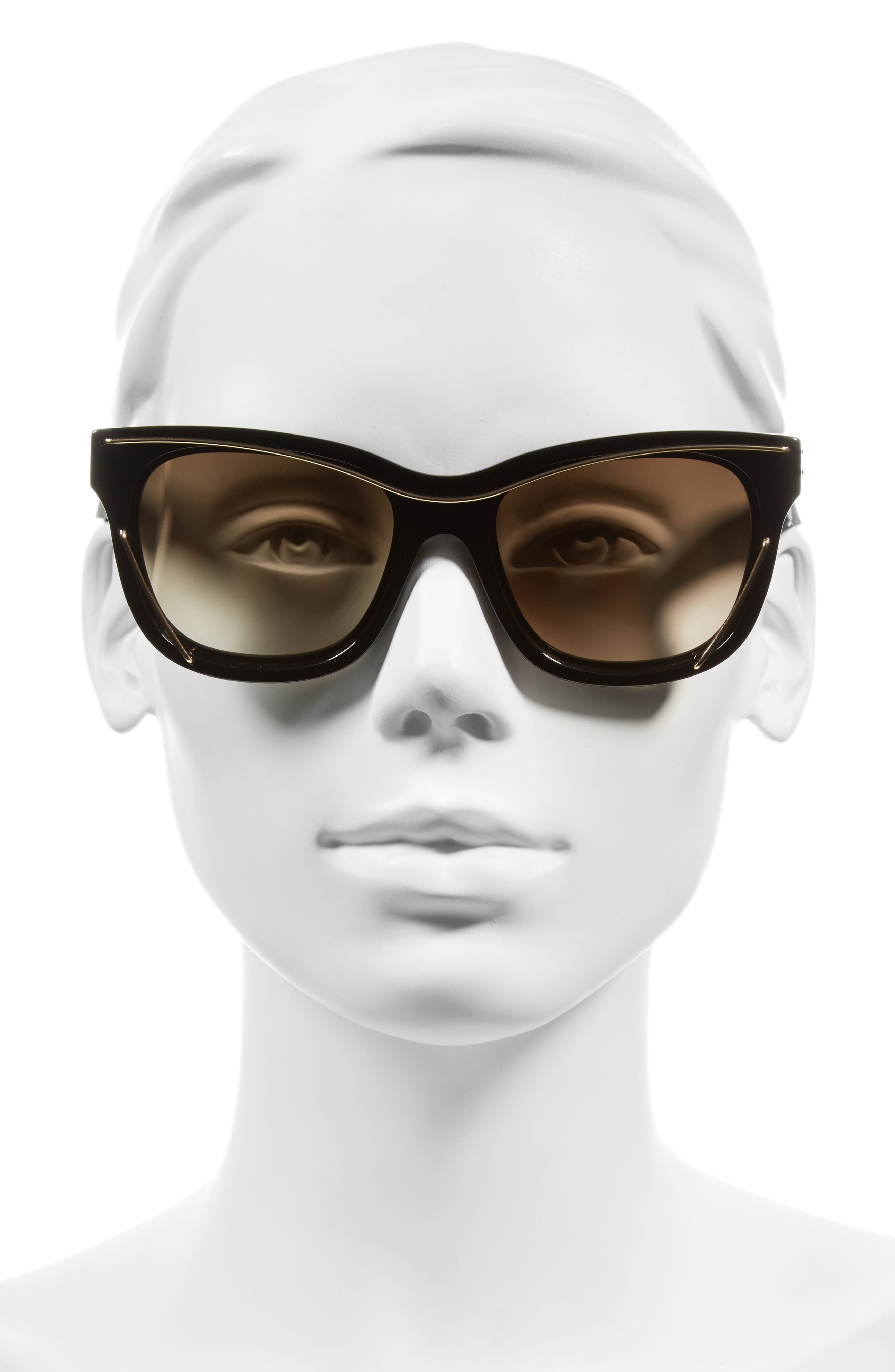 56mm Cat Eye Sunglasses,                             Alternate thumbnail 2, color,                             002