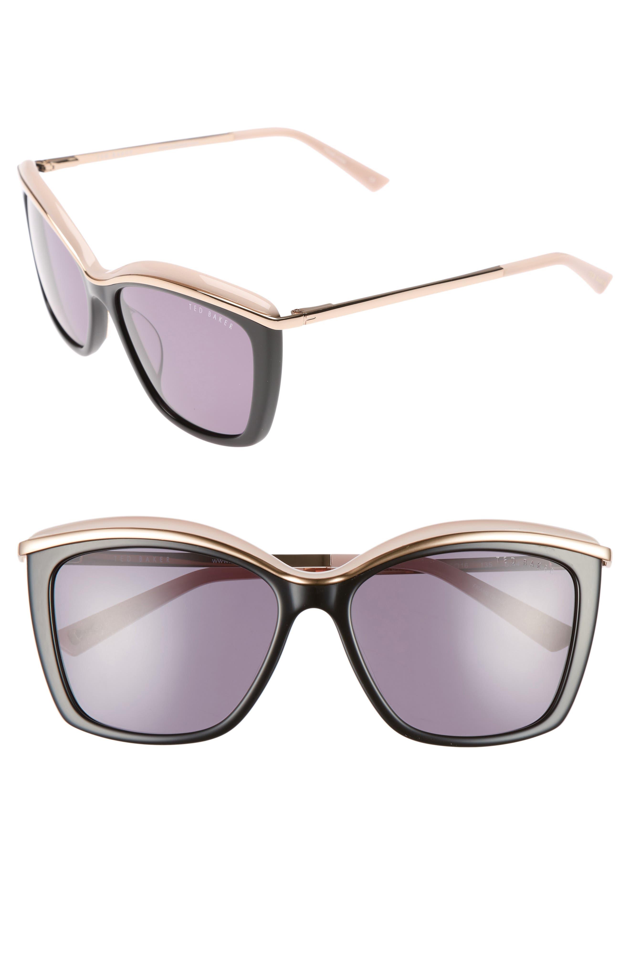55mm Cat Eye Sunglasses,                         Main,                         color, 001