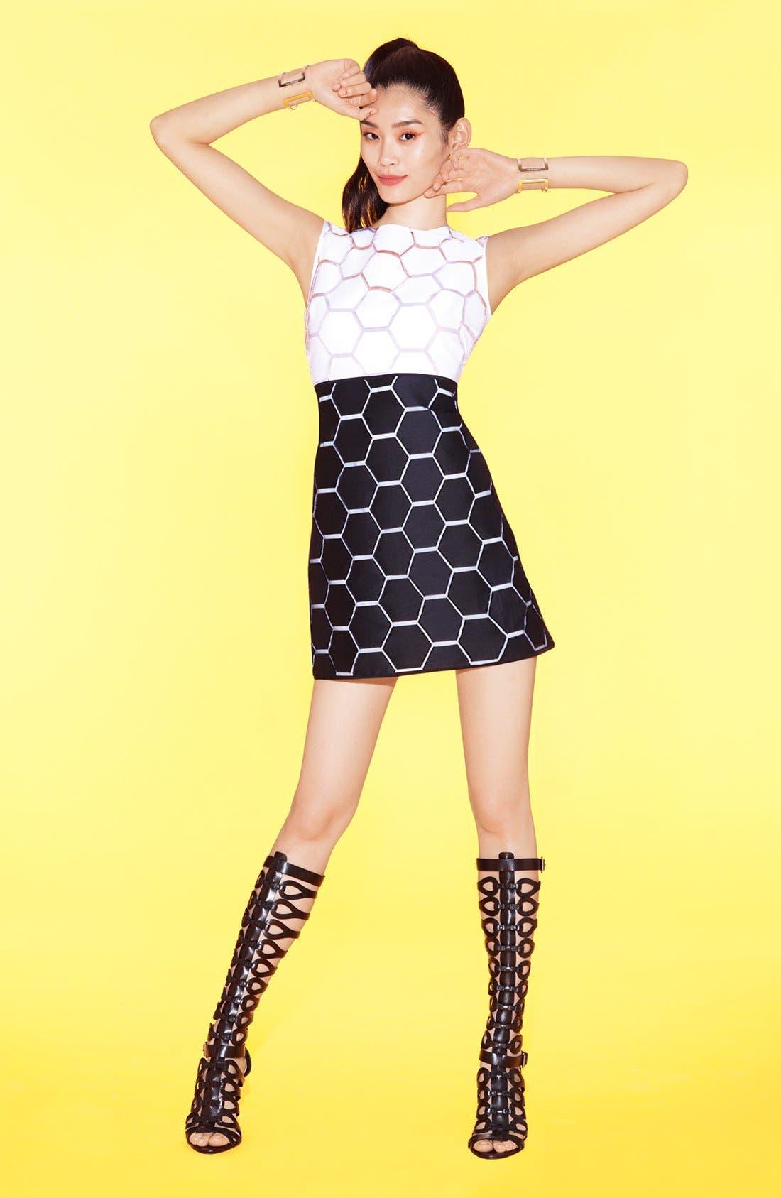 'Eloise' Hexagon Pattern Sleeveless Shift Dress,                             Alternate thumbnail 4, color,                             100