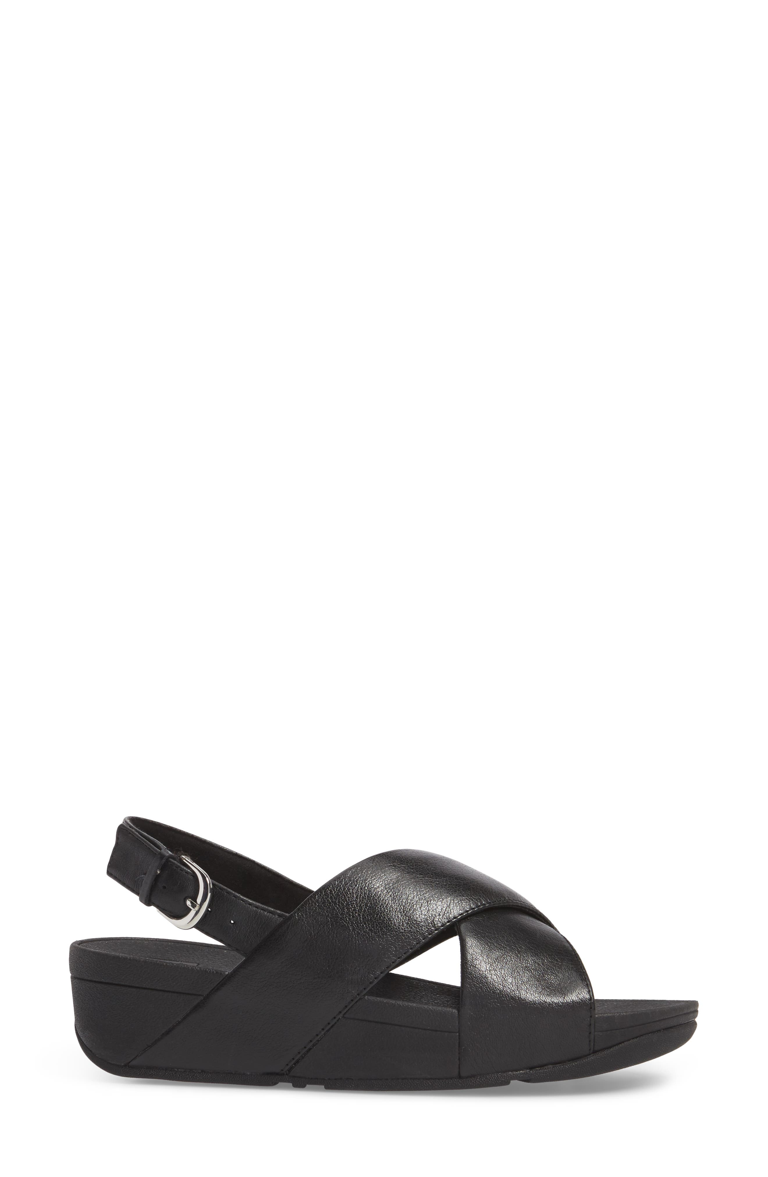 Lulu Crisscross Sandal,                             Alternate thumbnail 3, color,                             BLACK
