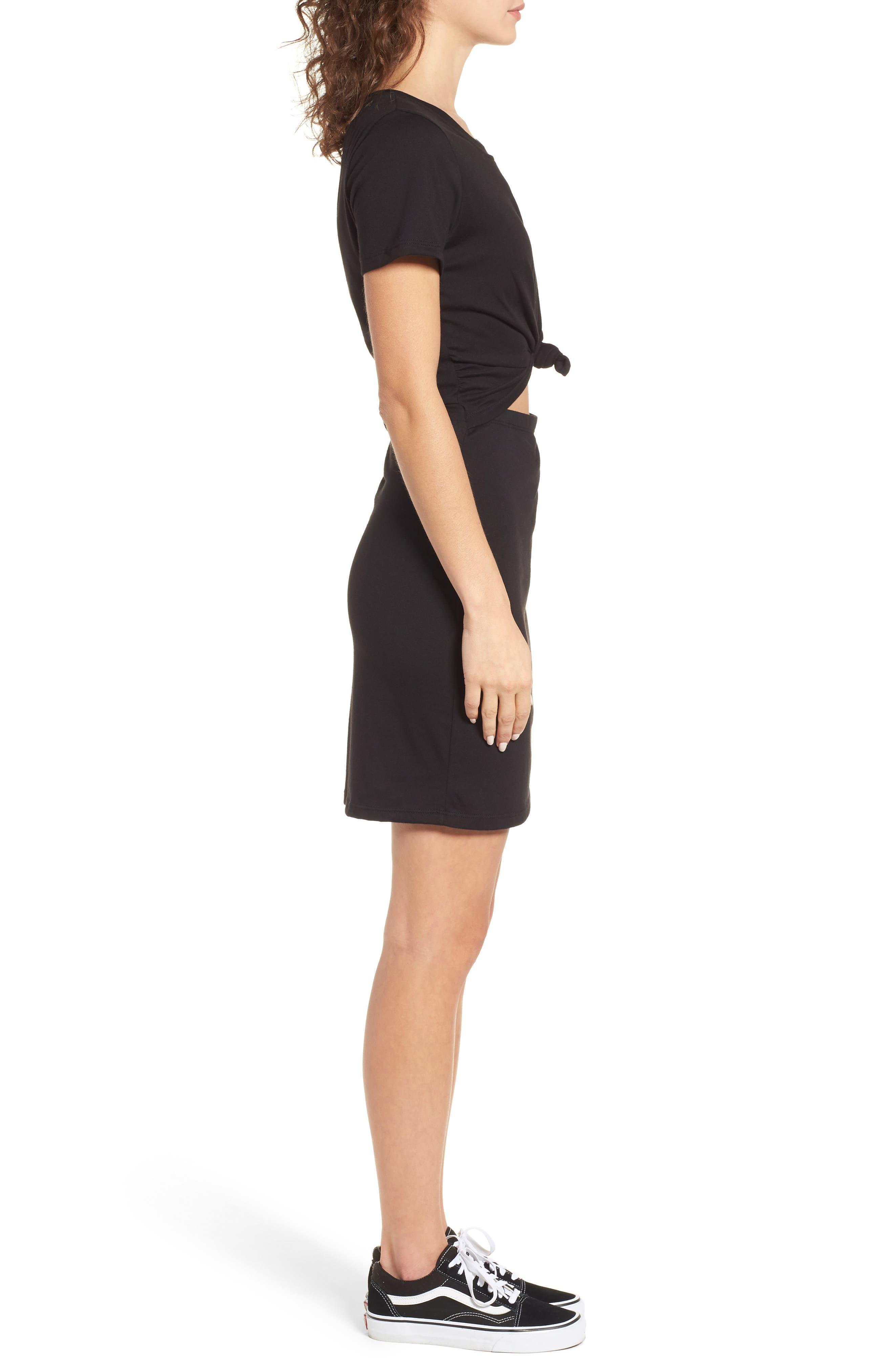 Knot Front Cutout T-Shirt Dress,                             Alternate thumbnail 3, color,                             BLACK