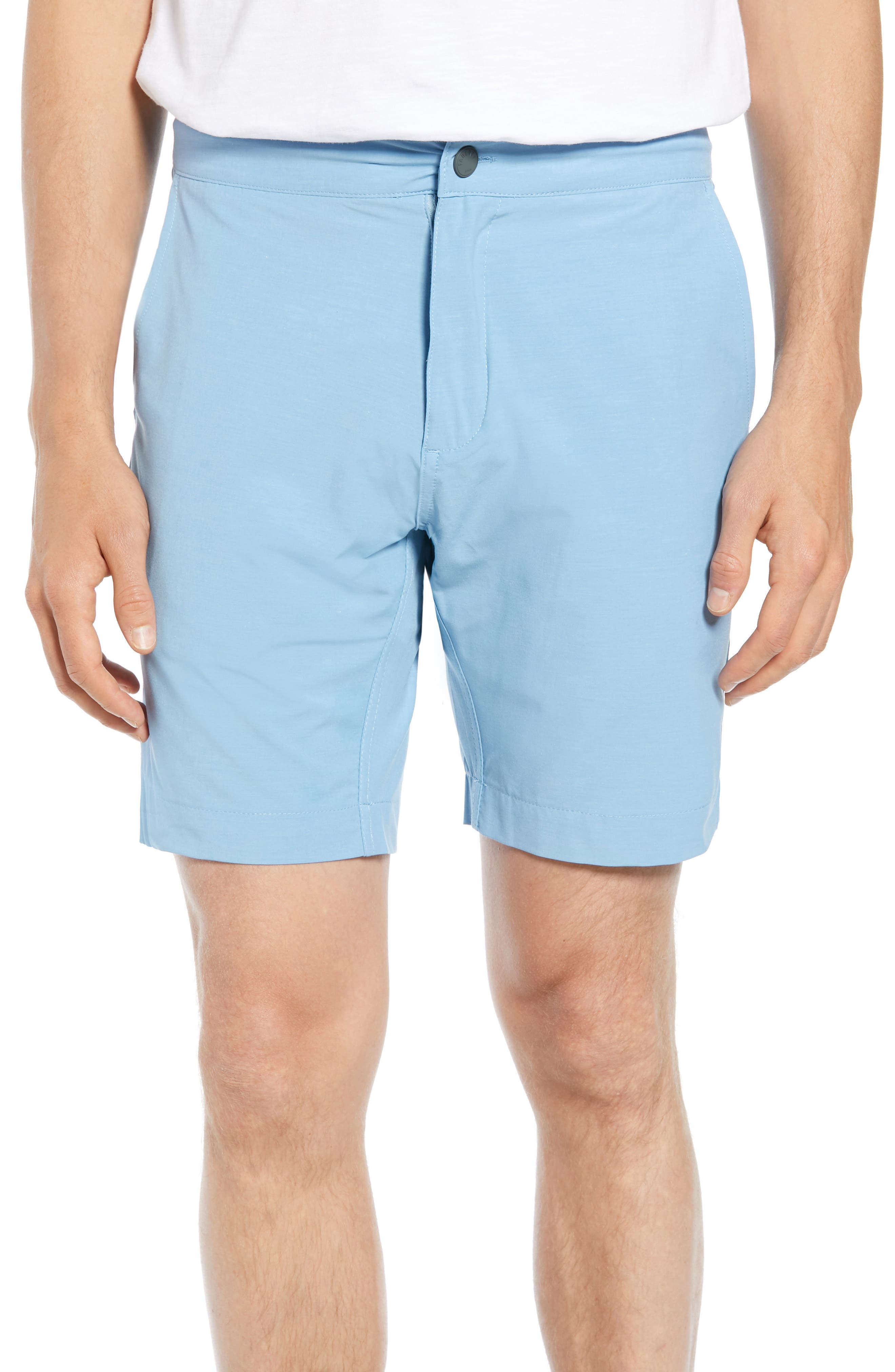 Faherty All Day Flat Front Shorts, Blue