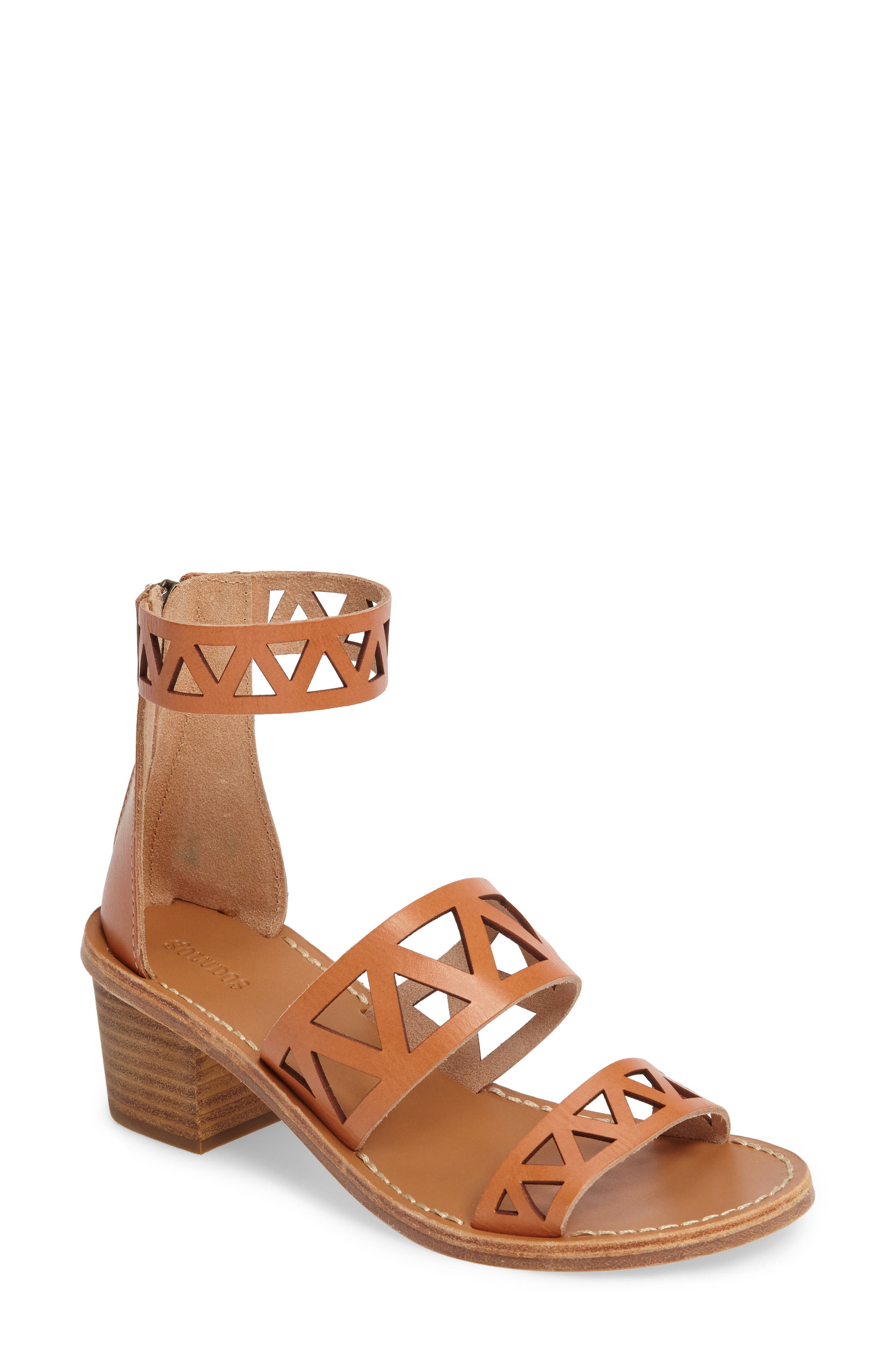 Perforated Ankle Strap Sandal,                             Main thumbnail 1, color,                             200