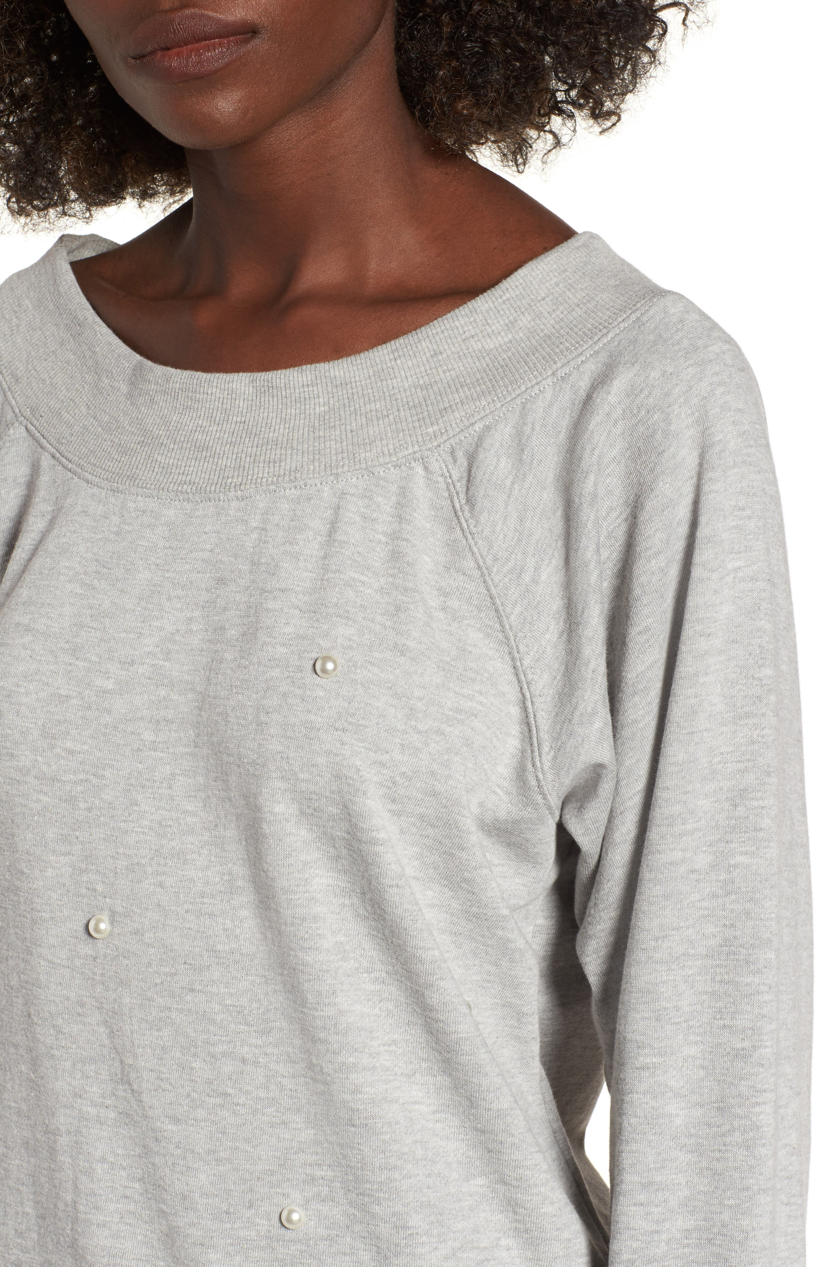 Embellished Off the Shoulder Sweatshirt,                             Alternate thumbnail 4, color,                             020