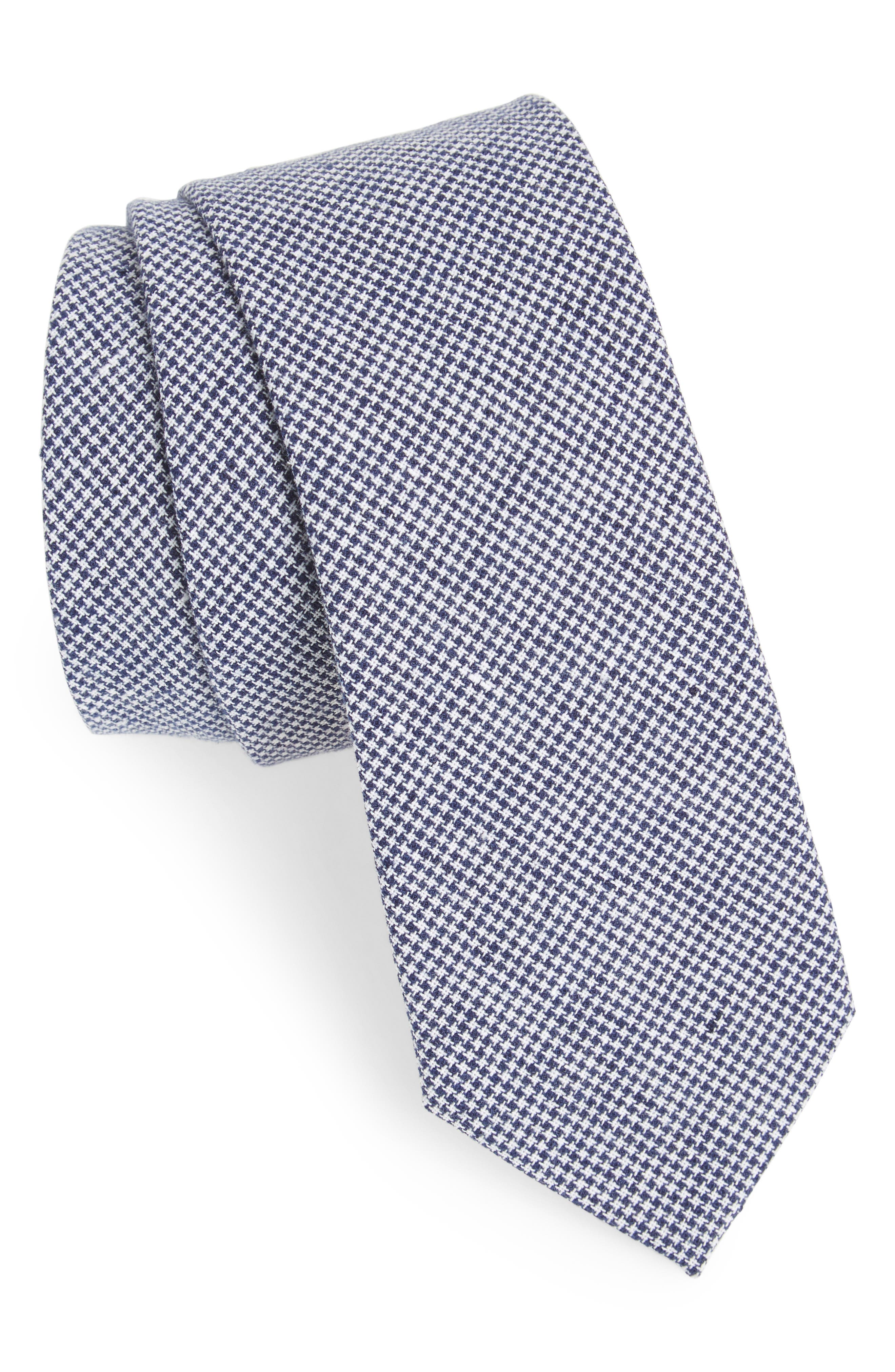 Ralph Houndstooth Cotton & Linen Tie,                         Main,                         color, 410