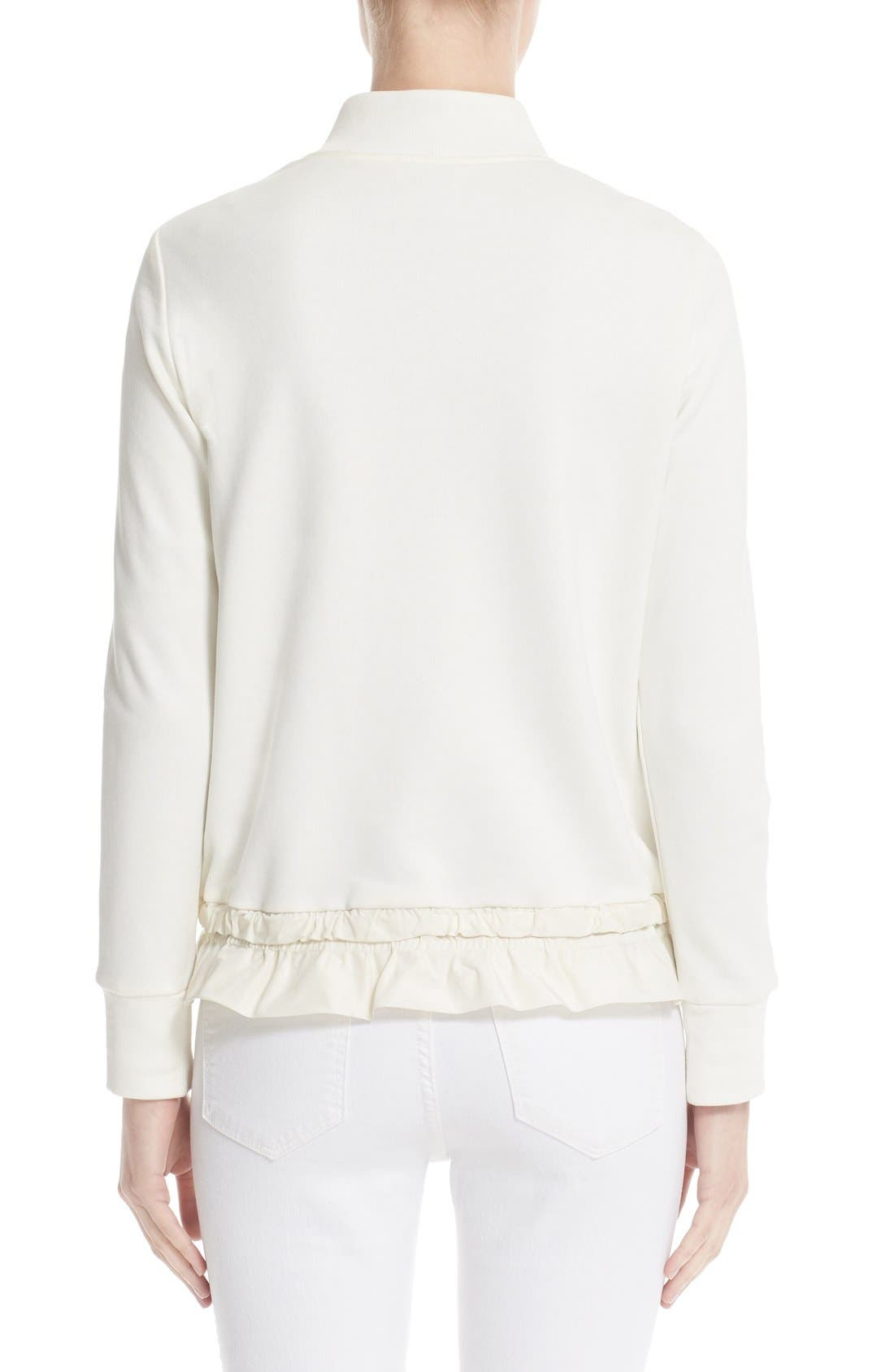 Maglia Quilted Down Front Tricot Bomber,                             Alternate thumbnail 4, color,                             NATURAL